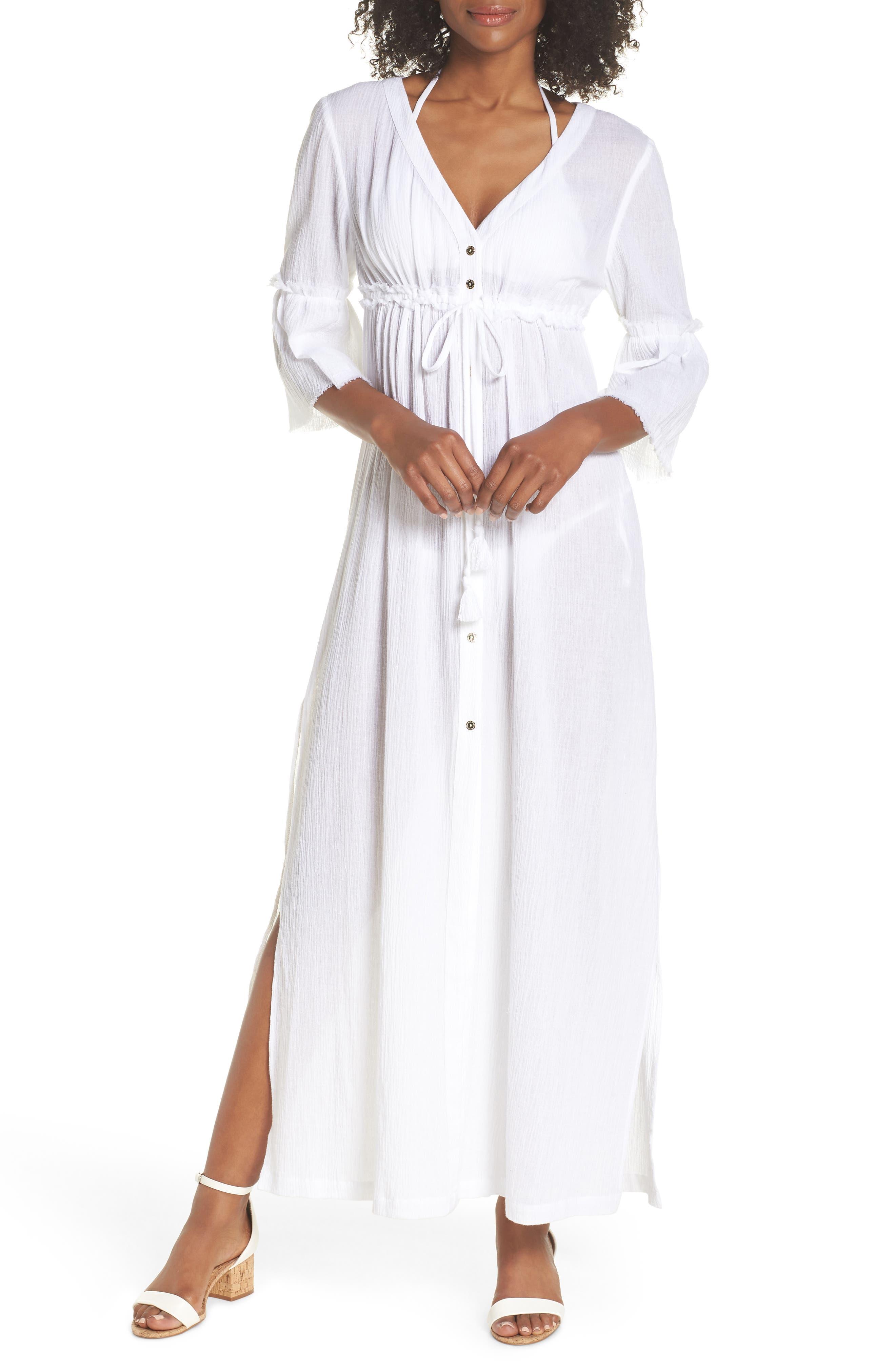 HEIDI KLEIN Portofino Button-Front Maxi Coverup Kaftan in White