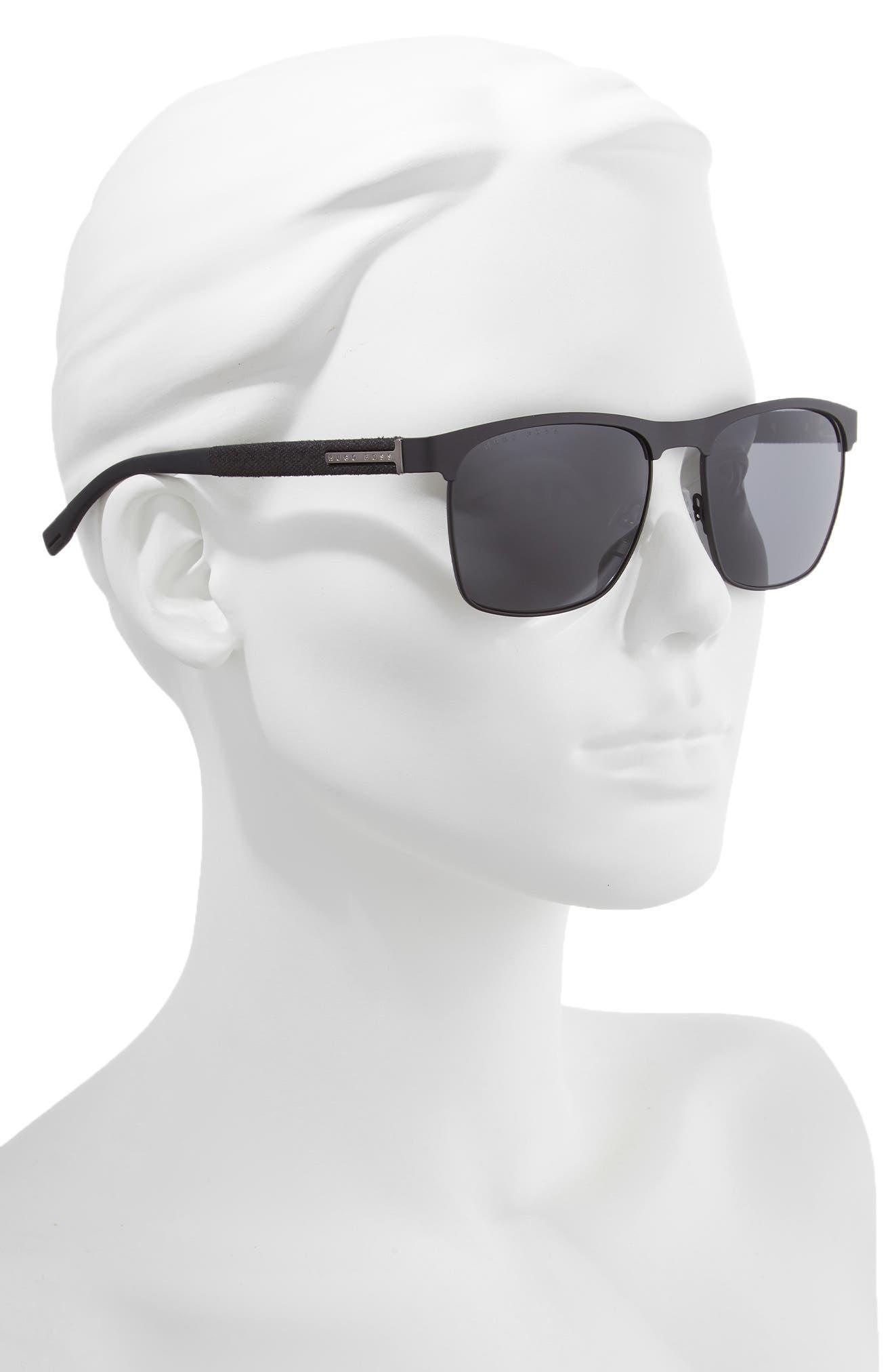 BOSS,                             57mm Rectangle Sunglasses,                             Alternate thumbnail 2, color,                             MATTE BLACK