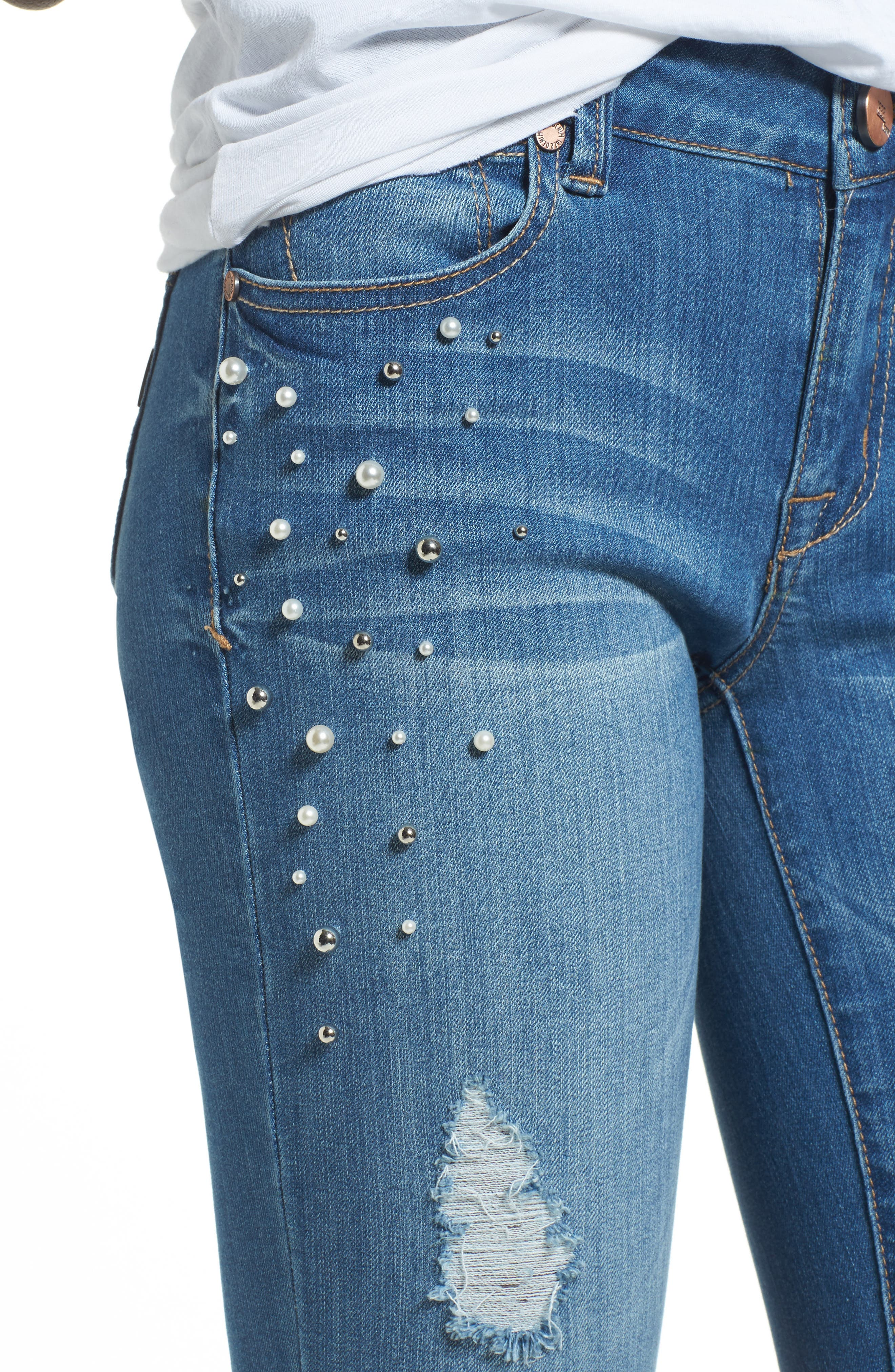 Pearl Detail Skinny Jeans,                             Alternate thumbnail 4, color,                             426