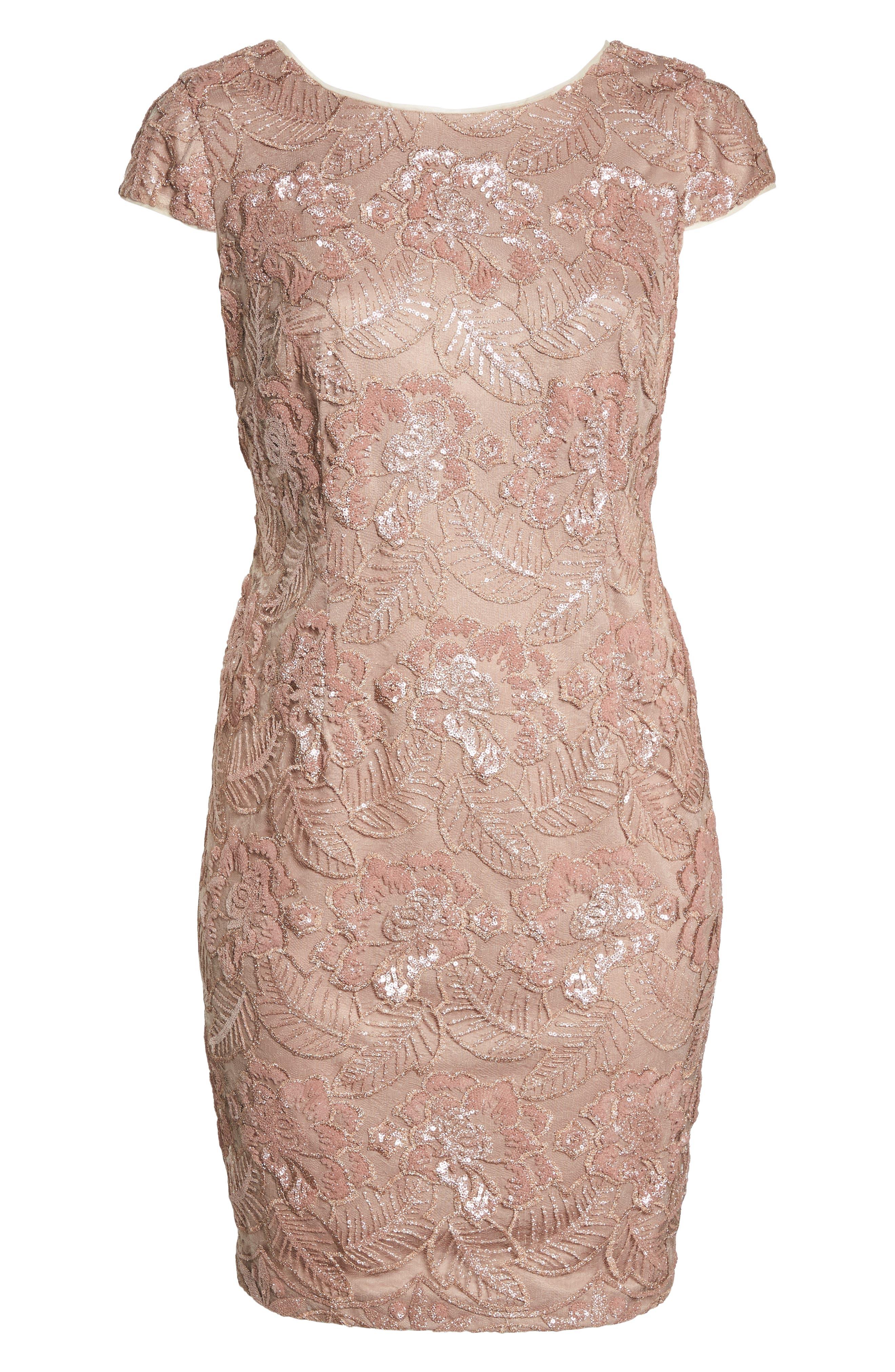 Sequin Lace Cocktail Dress,                             Alternate thumbnail 7, color,                             ROSE GOLD