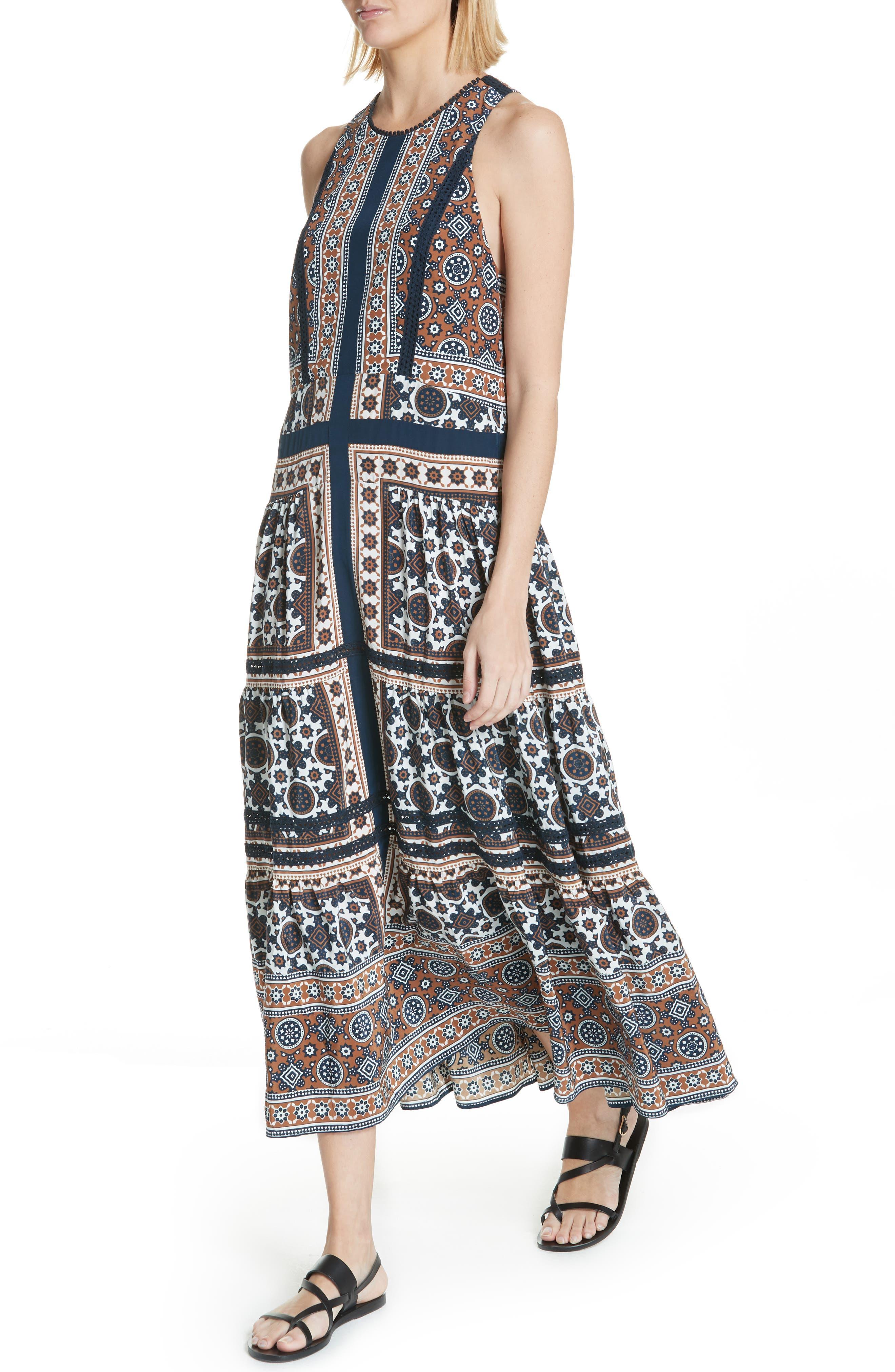 Ezri Print Maxi Dress,                             Alternate thumbnail 4, color,                             BLUE MULTI