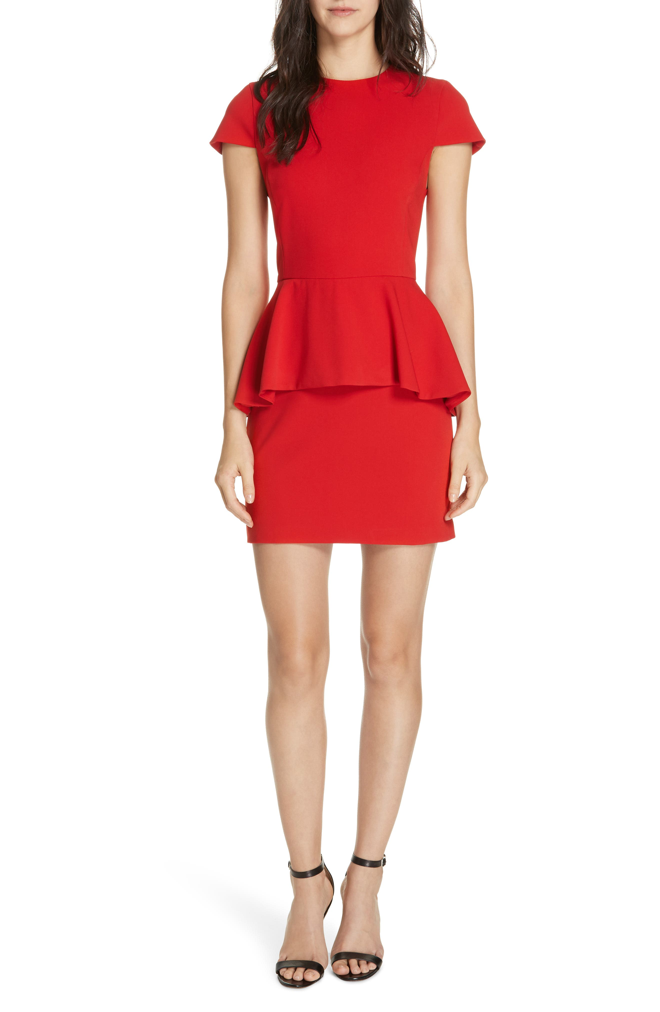 Alice + Olivia Ember Peplum Fitted Dress, Red