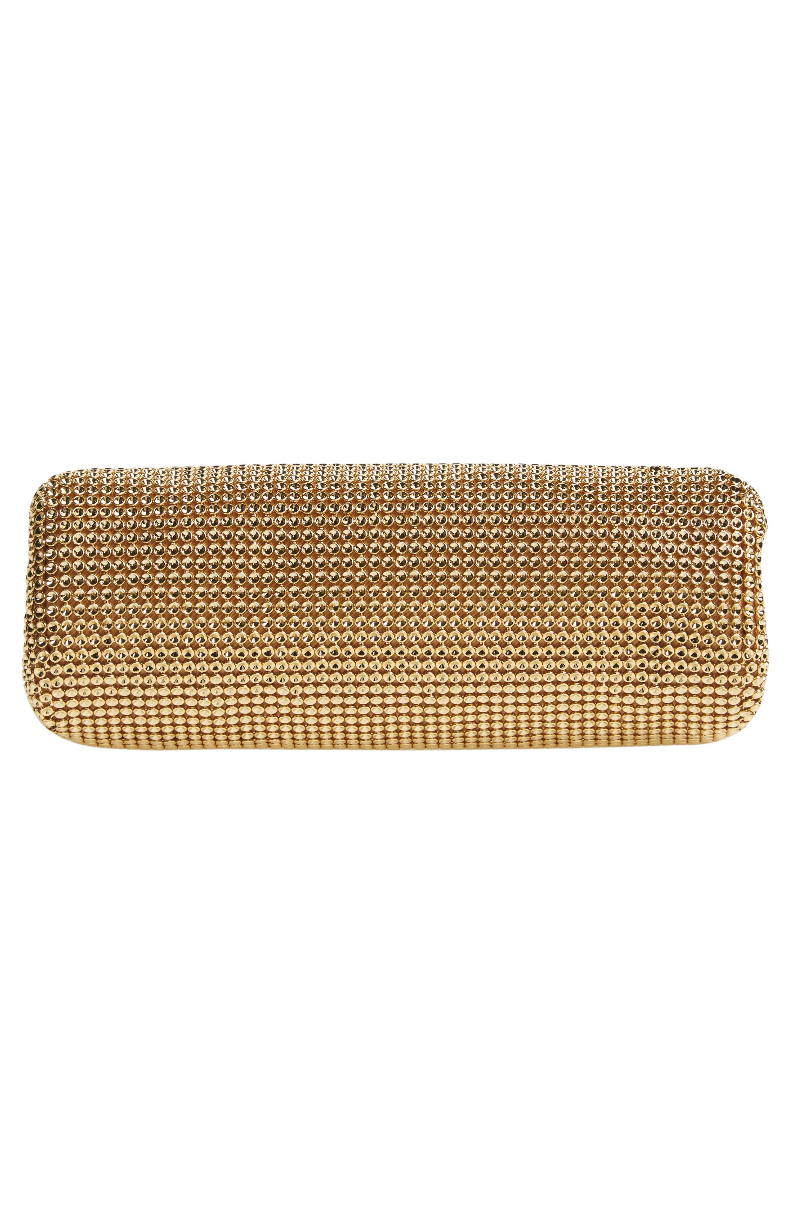 'Crystal' Mesh Clutch,                             Alternate thumbnail 6, color,                             GOLD