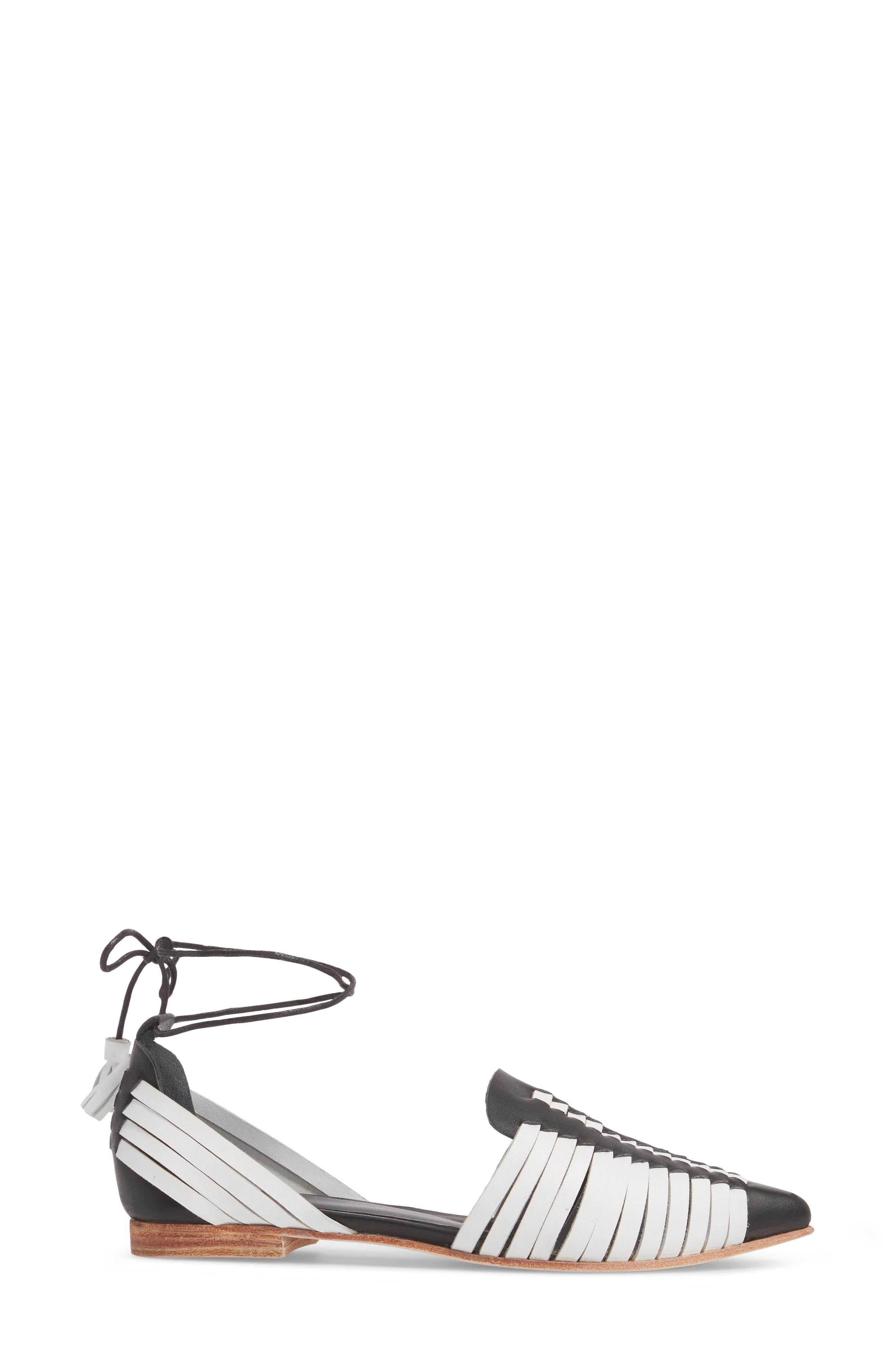 Hollis Huarache Ankle Tie Flat,                             Alternate thumbnail 3, color,                             BLACK/ WHITE LEATHER
