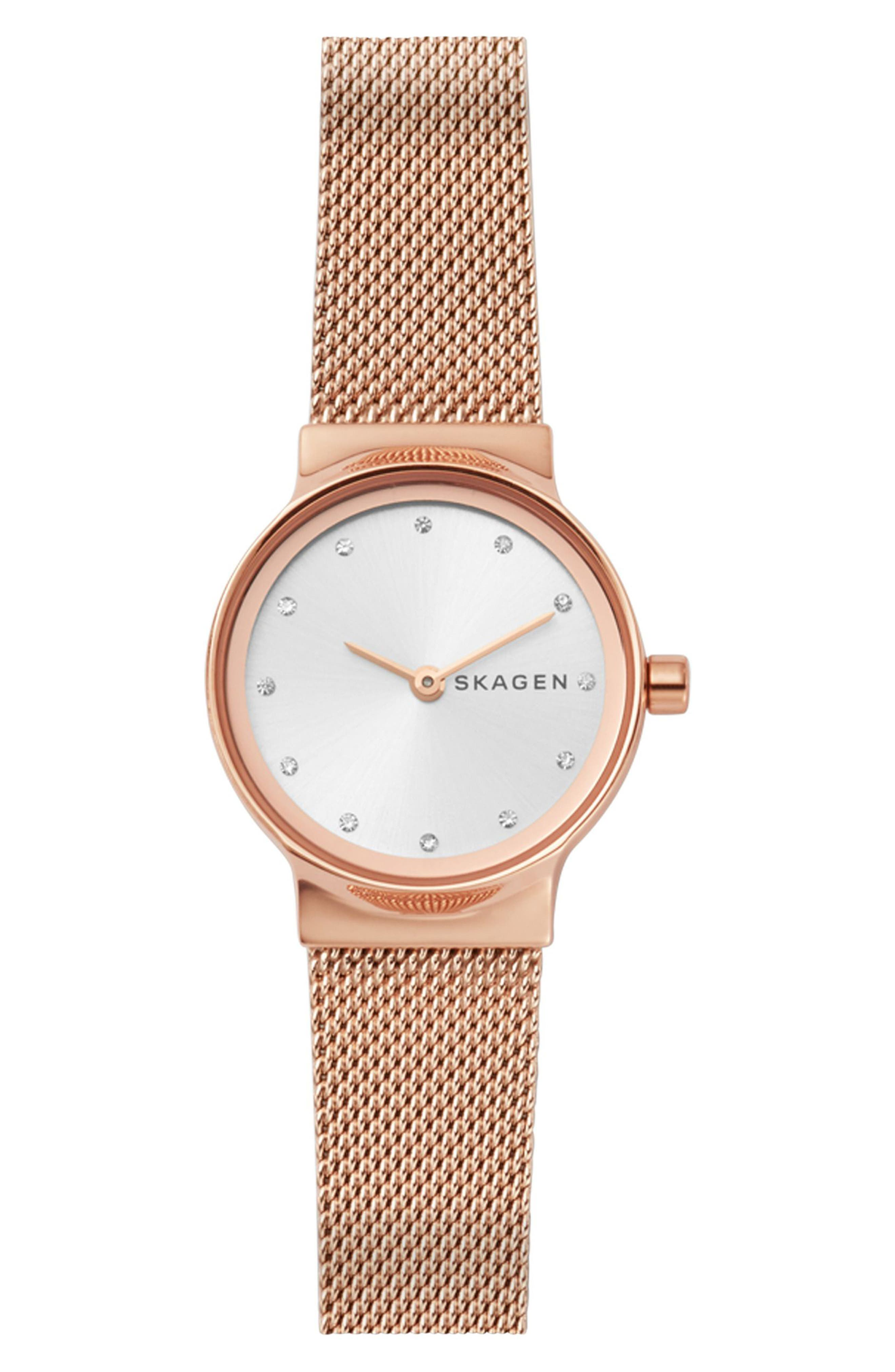 Freja Crystal Accent Mesh Strap Watch, 26mm,                         Main,                         color, ROSE GOLD/ WHITE/ ROSE GOLD