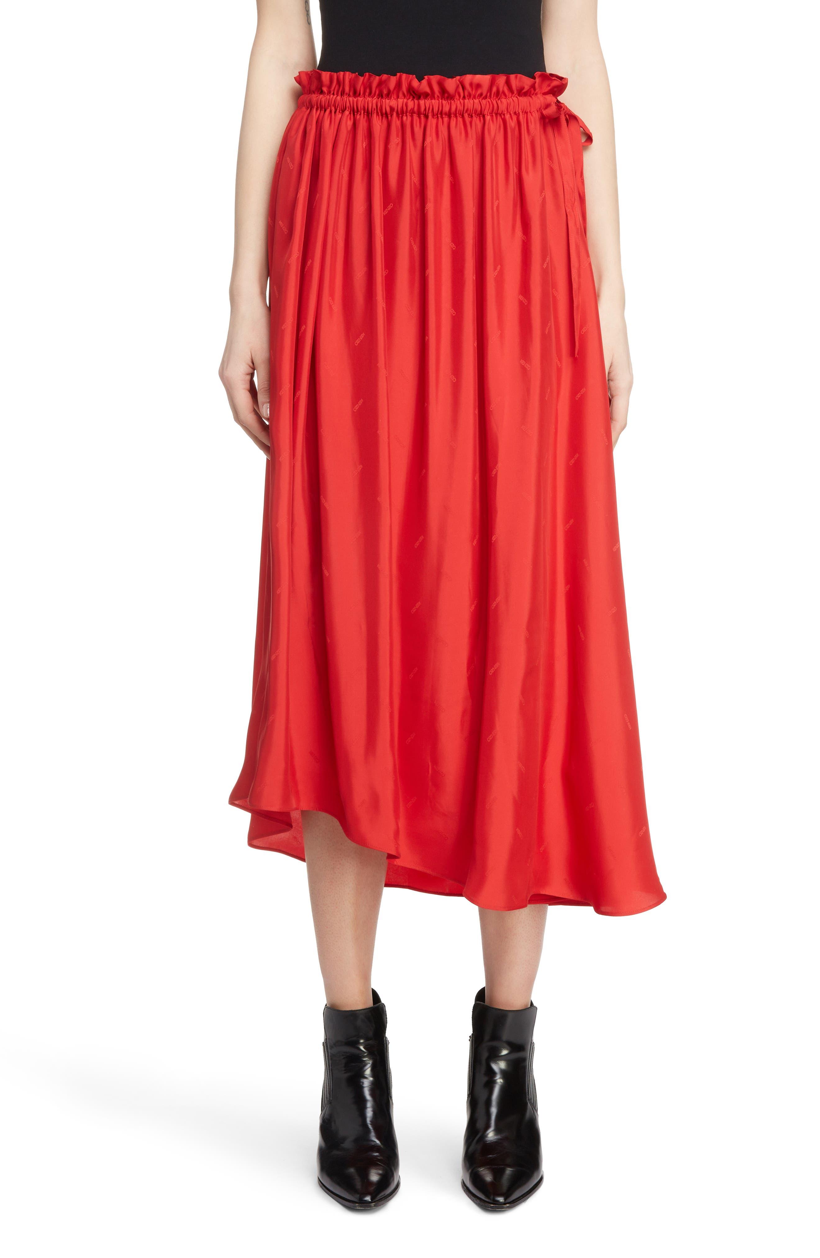 Long Belted Skirt,                             Main thumbnail 1, color,                             VISCOSE/ MEDIUM RED