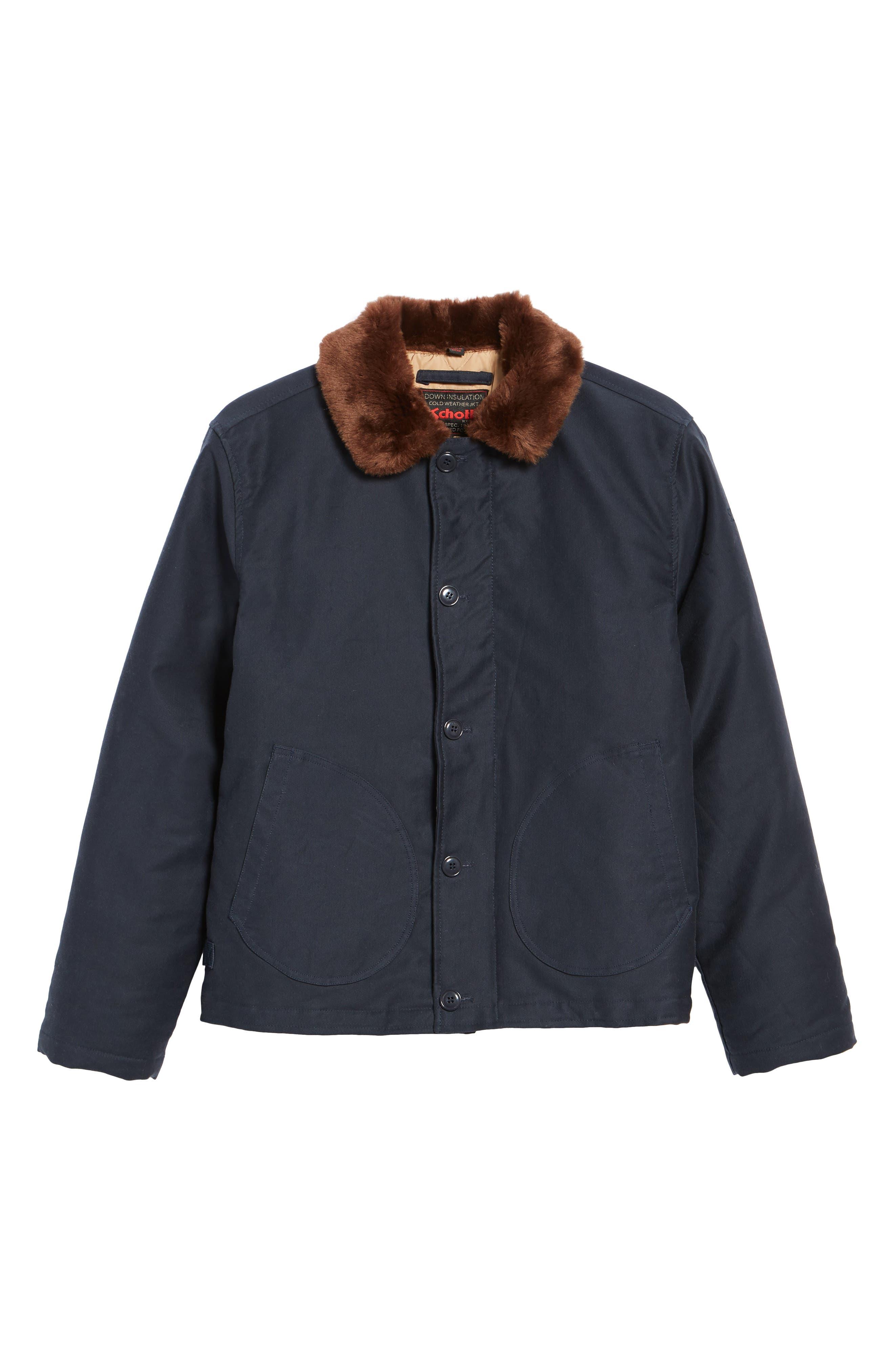Faux Fur Collar Water-Repellent Corduroy Down Jacket,                             Alternate thumbnail 5, color,                             NAVY