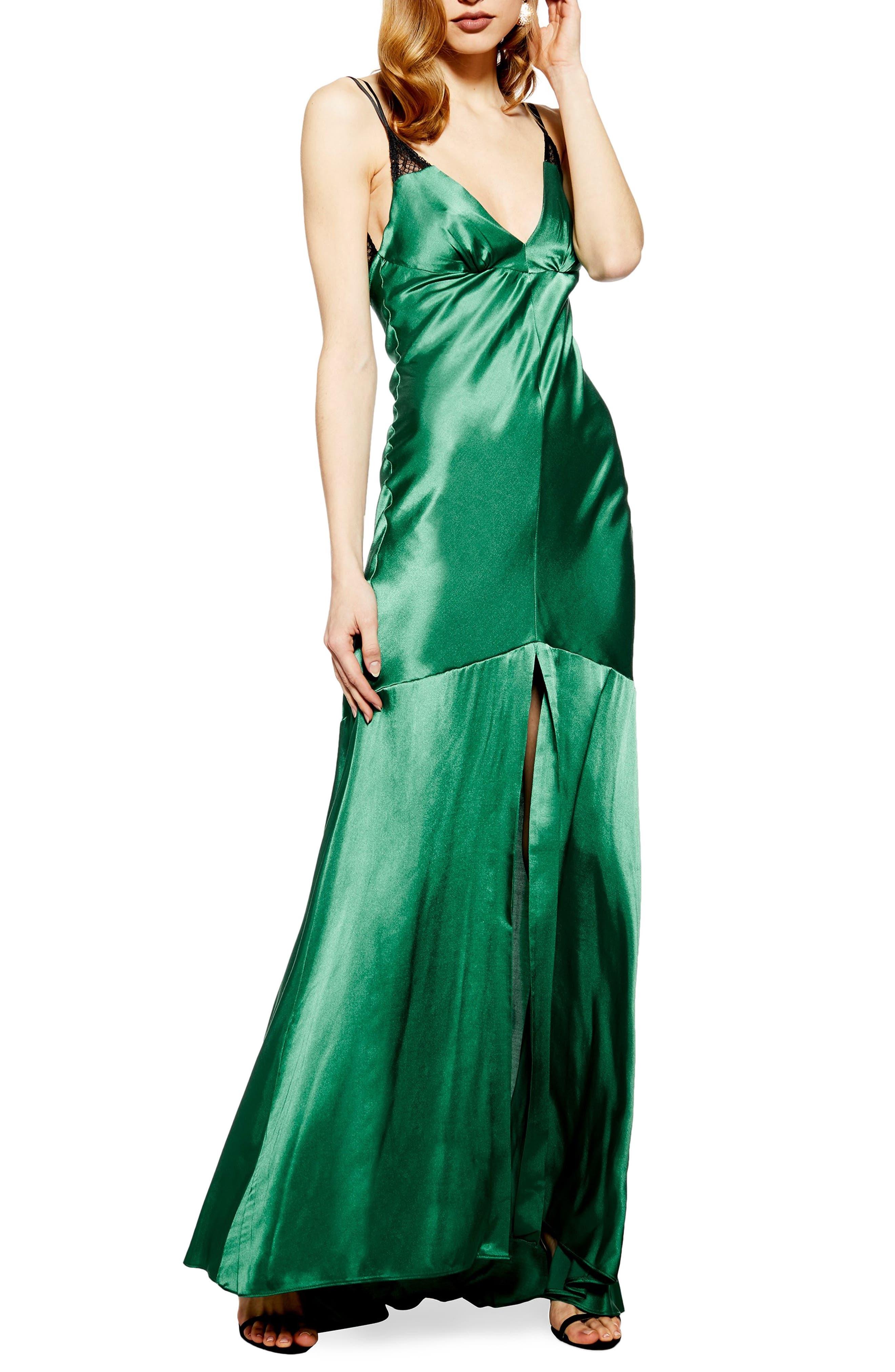 Topshop Lace Satin Maxi Dress, US (fits like 16-18) - Green