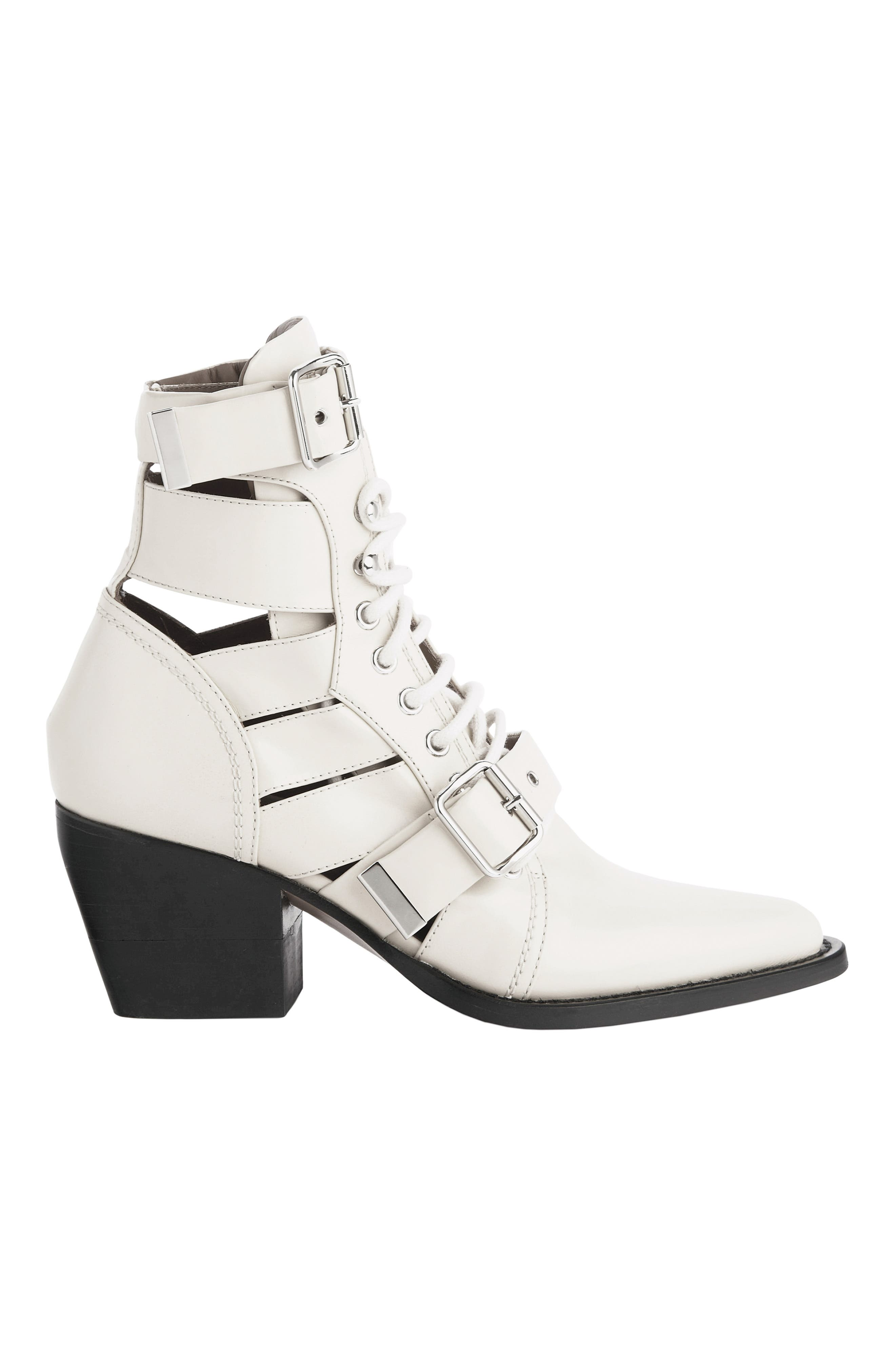 CHLOÉ,                             Rylee Caged Pointy Toe Boot,                             Alternate thumbnail 5, color,                             WHITE