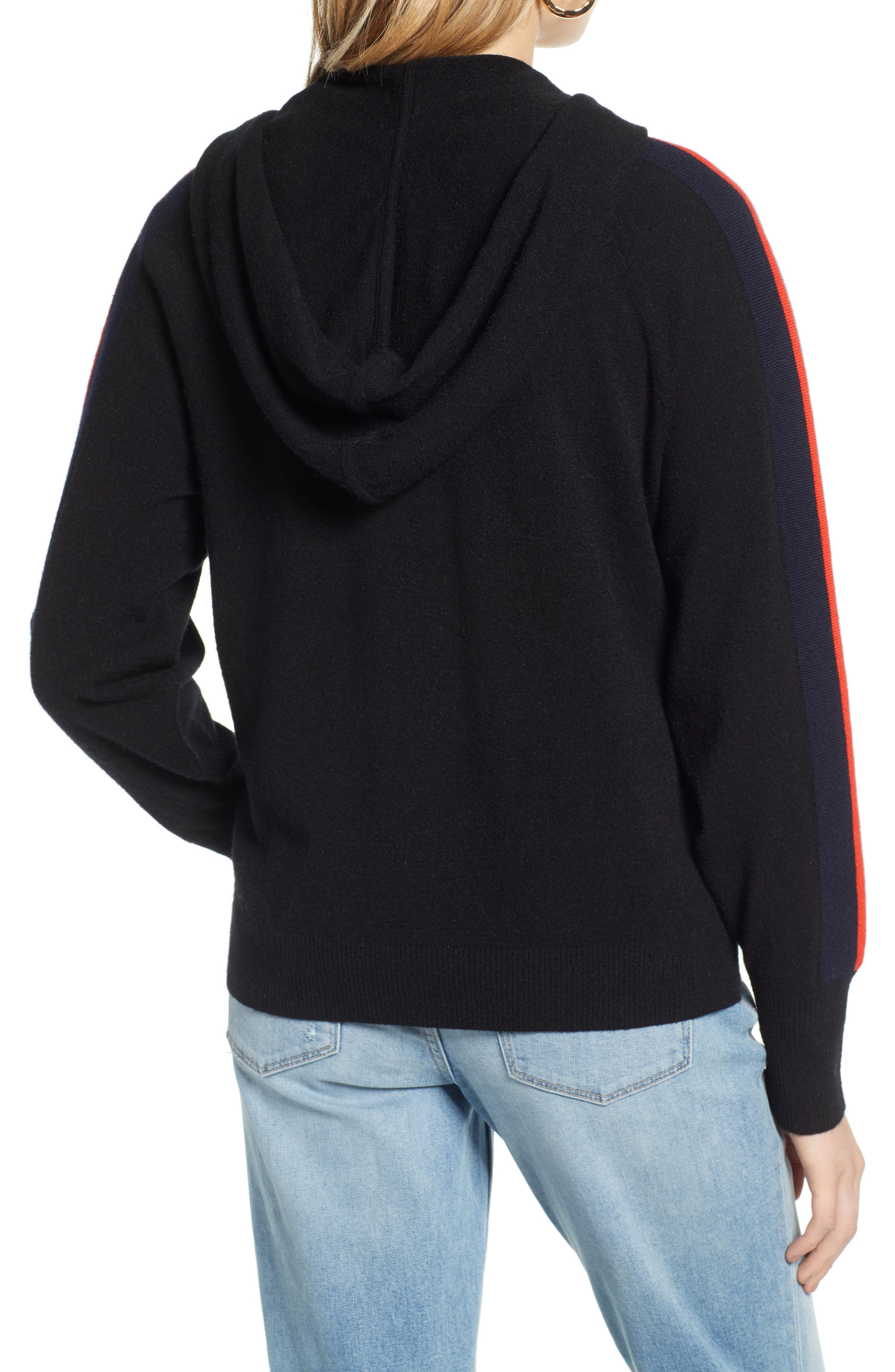 TREASURE & BOND,                             Stripe Hoodie,                             Alternate thumbnail 2, color,                             BLACK/ RED FIERY COMBO
