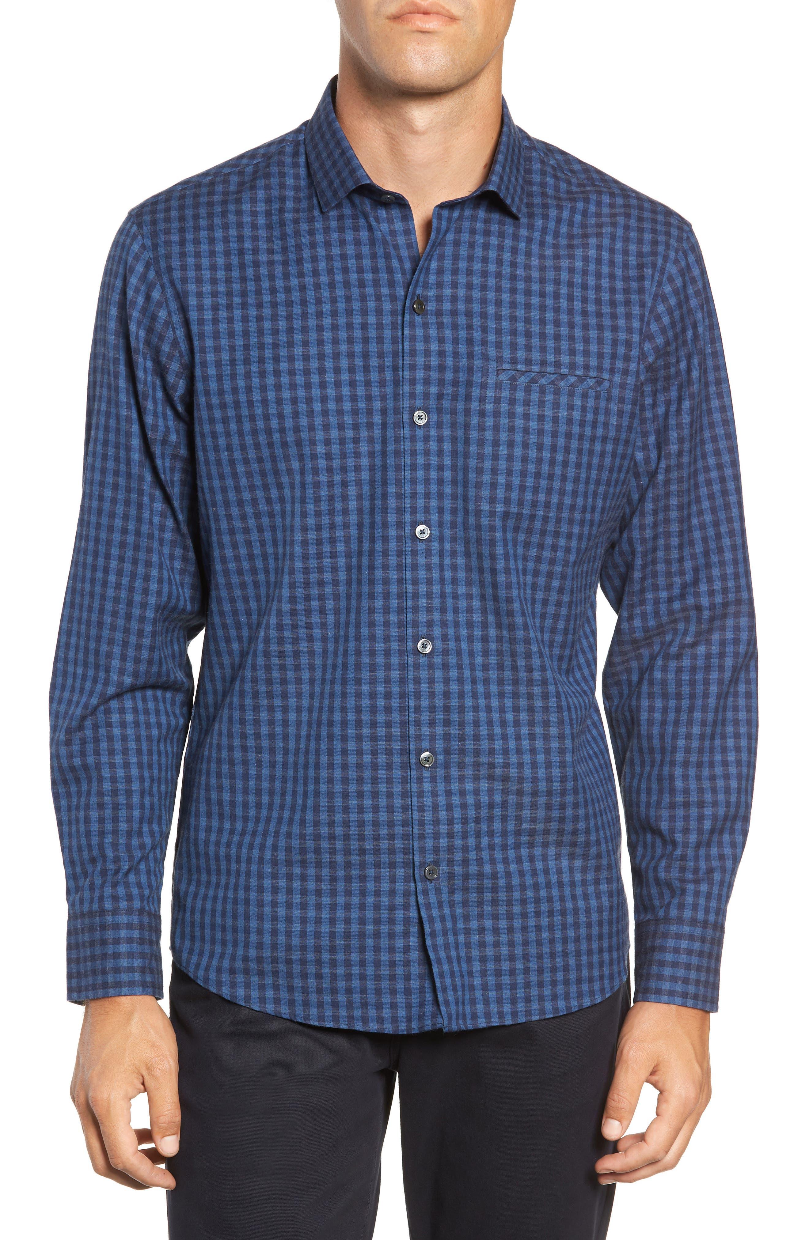 Santana Check Sport Shirt,                         Main,                         color, DARK BLUE