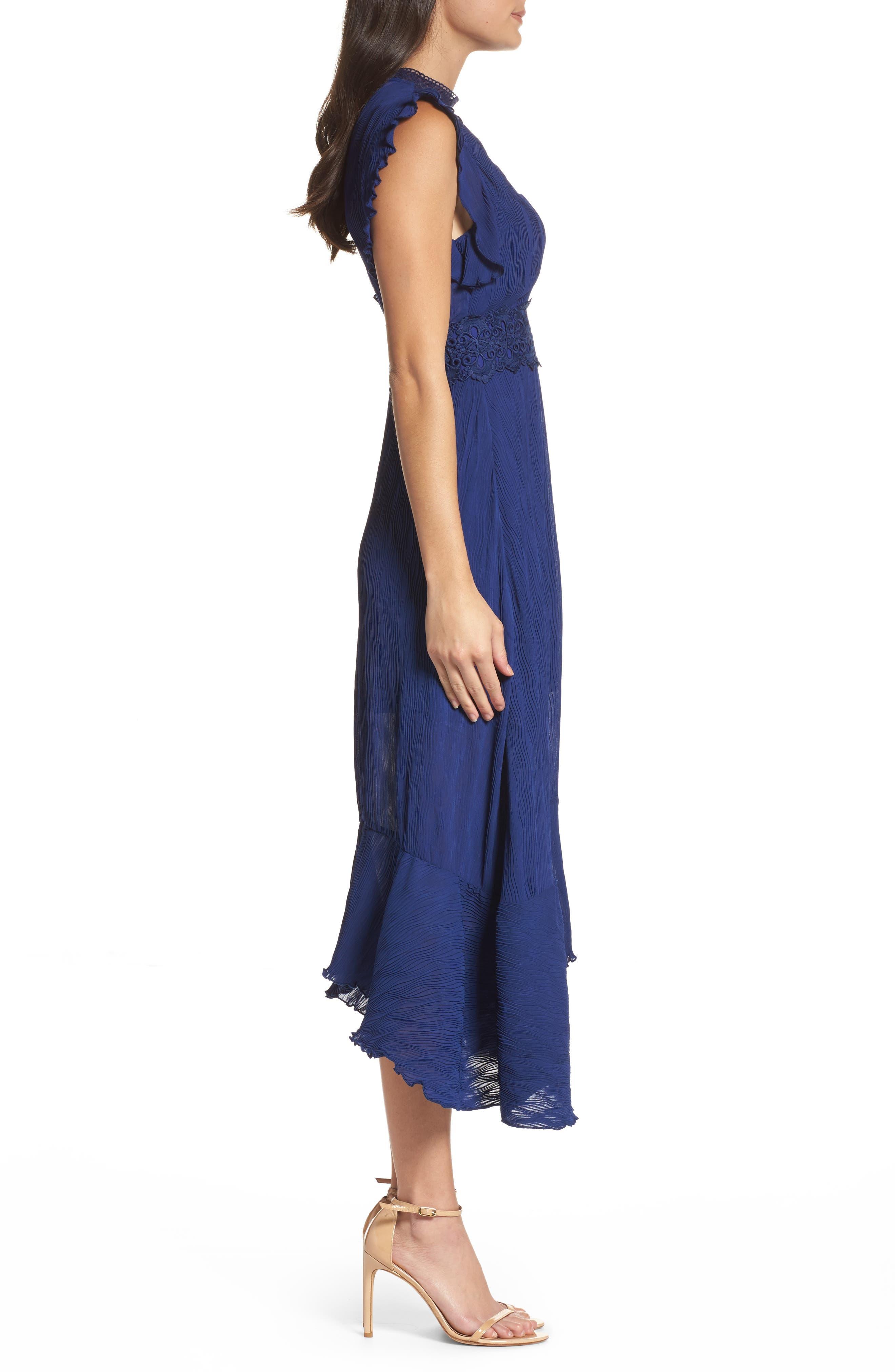 Isadora Lace Trim Pintuck Midi Dress,                             Alternate thumbnail 3, color,