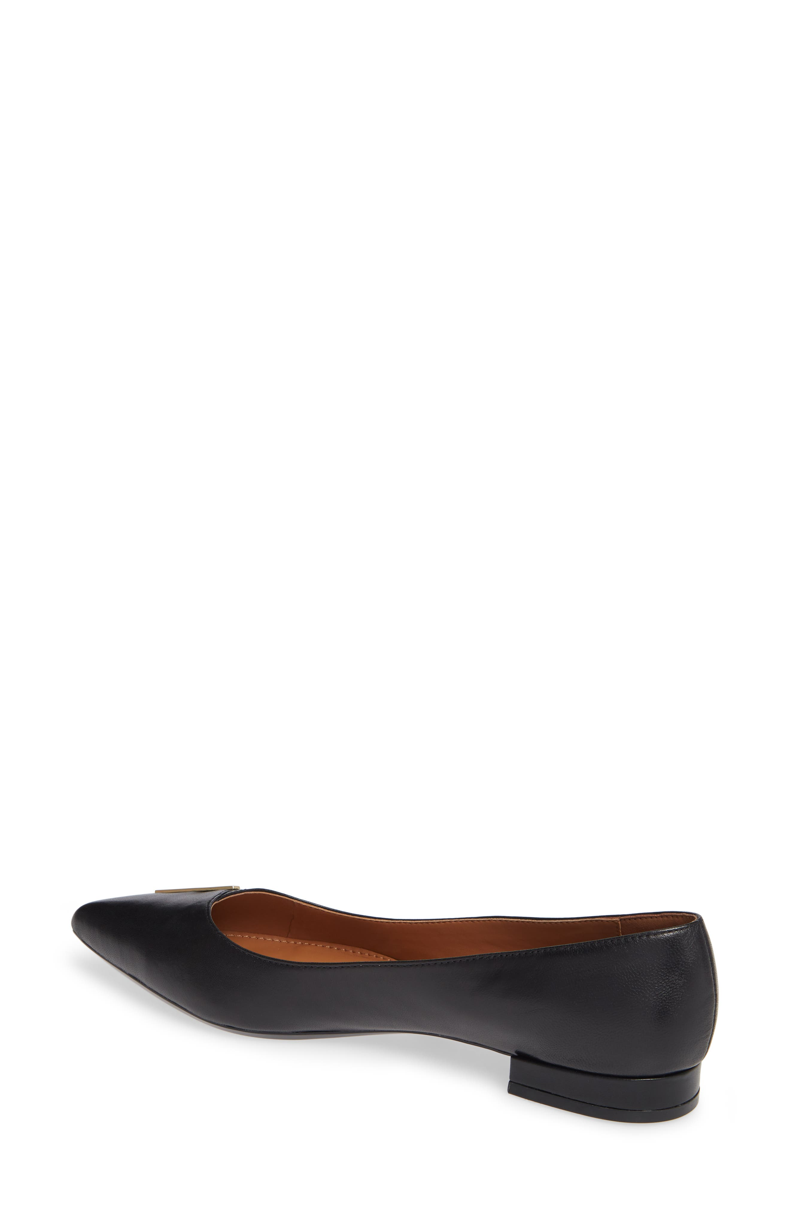 Arline Pointy Toe Flat,                             Alternate thumbnail 2, color,                             BLACK LEATHER