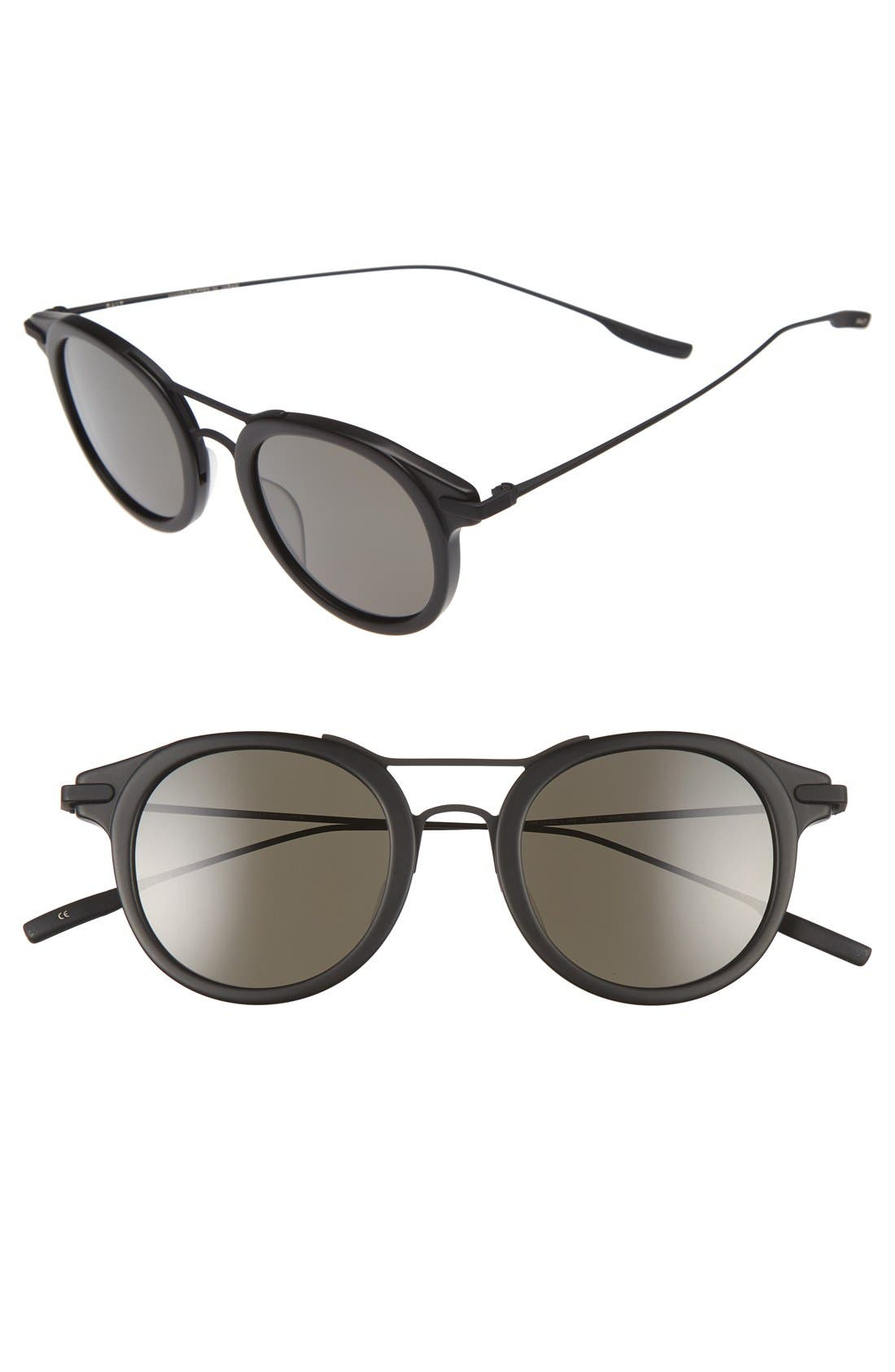 Taft 46mm Polarized Round Sunglasses,                         Main,                         color, MATTE BLACK/ BLACK SAND