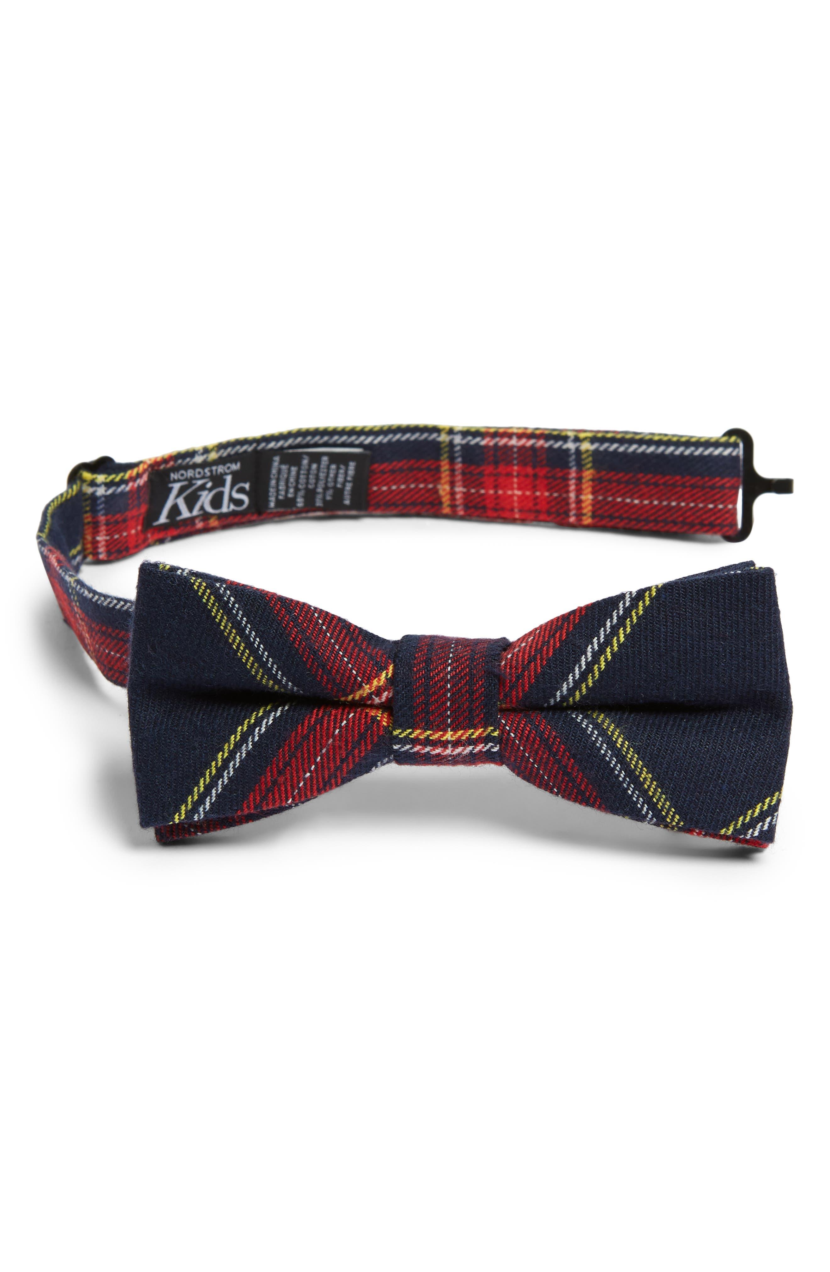 Plaid Cotton Blend Bow Tie,                         Main,                         color, NAVY