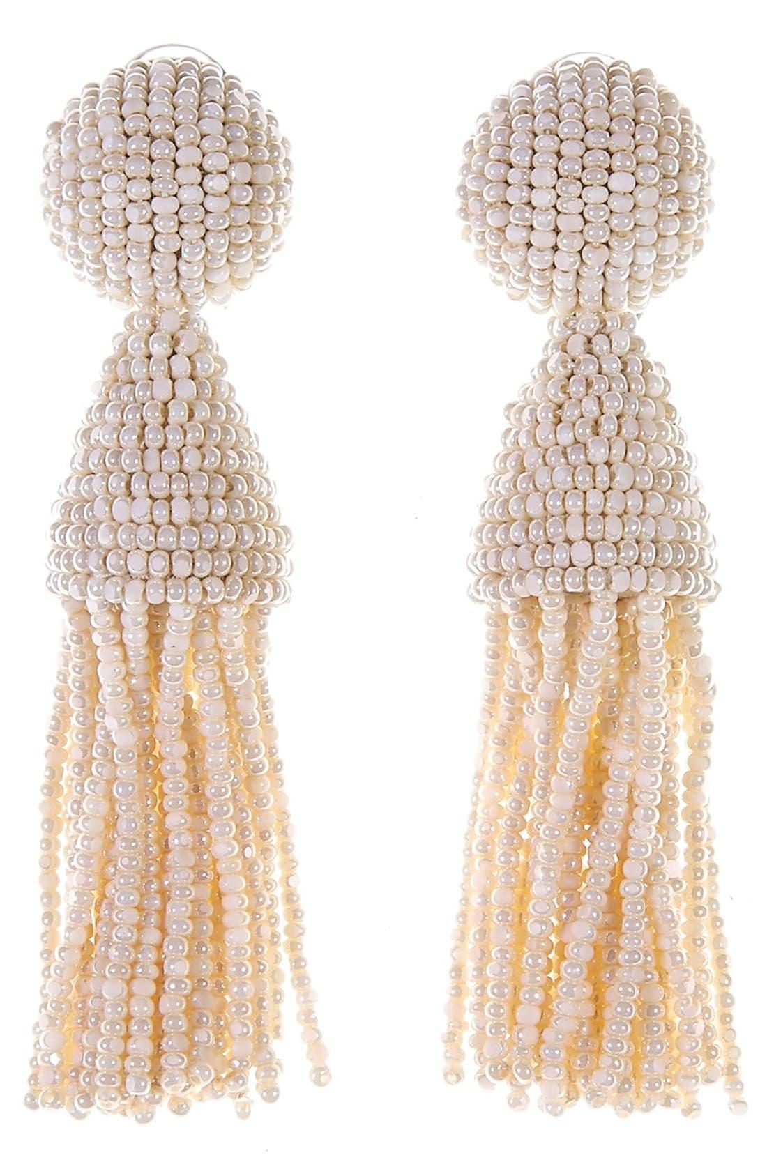 'Classic Short' Tassel Drop Clip Earrings,                             Main thumbnail 26, color,