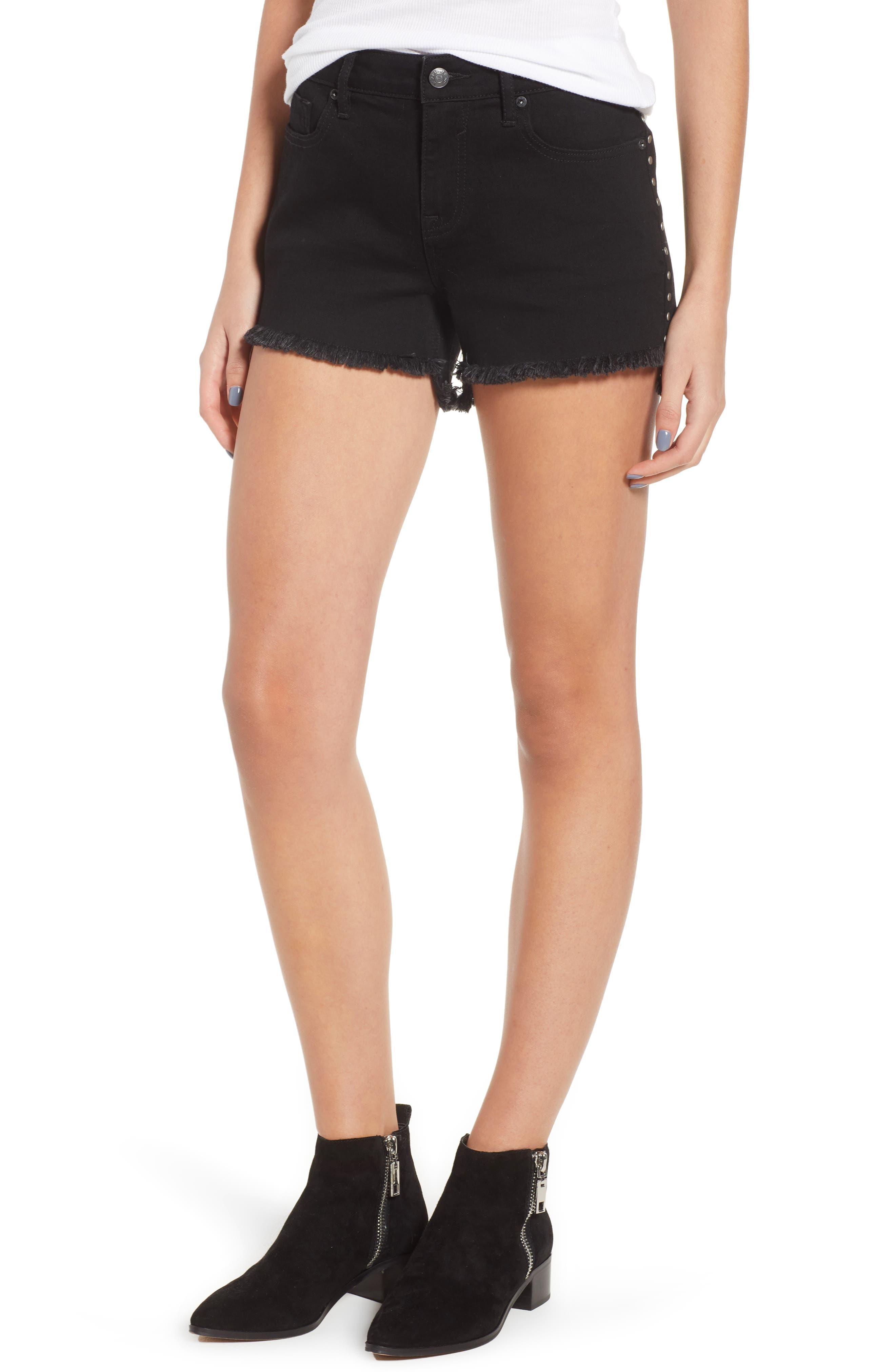 Studded Step Hem Denim Cutoff Shorts,                         Main,                         color, 001