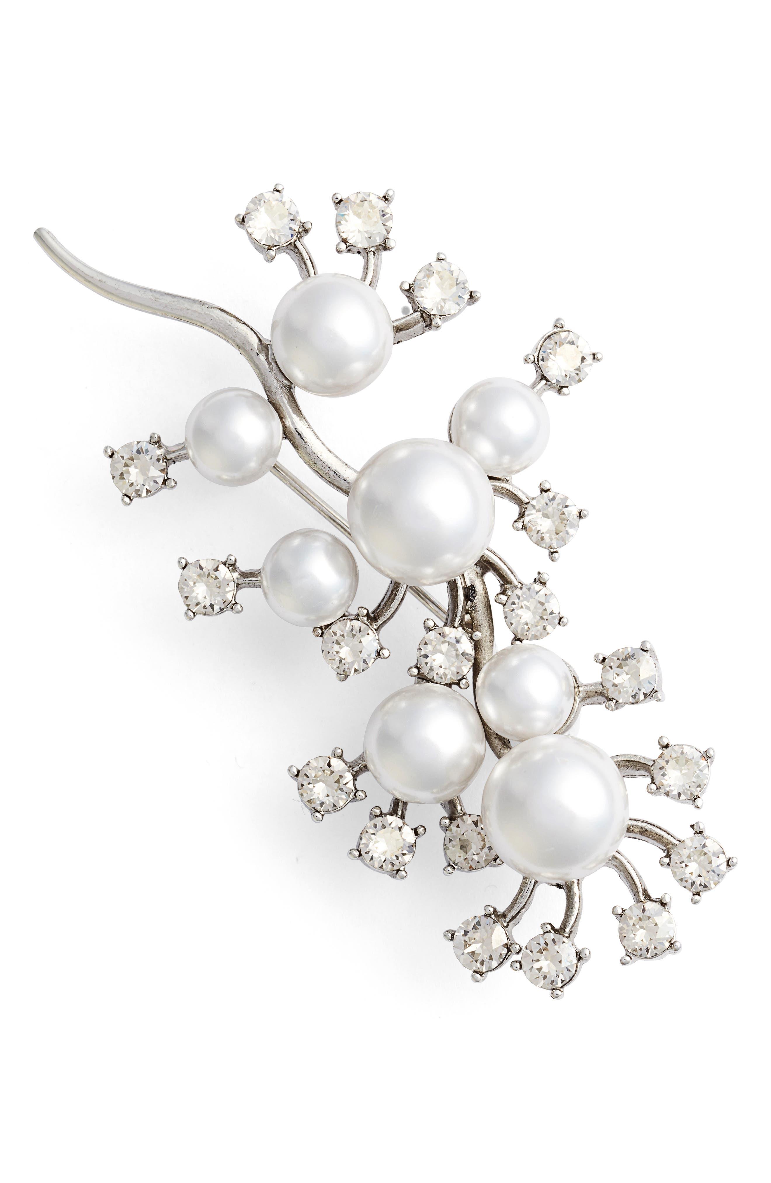 Scattered Imitation Pearl & Crystal Brooch,                             Main thumbnail 1, color,                             040
