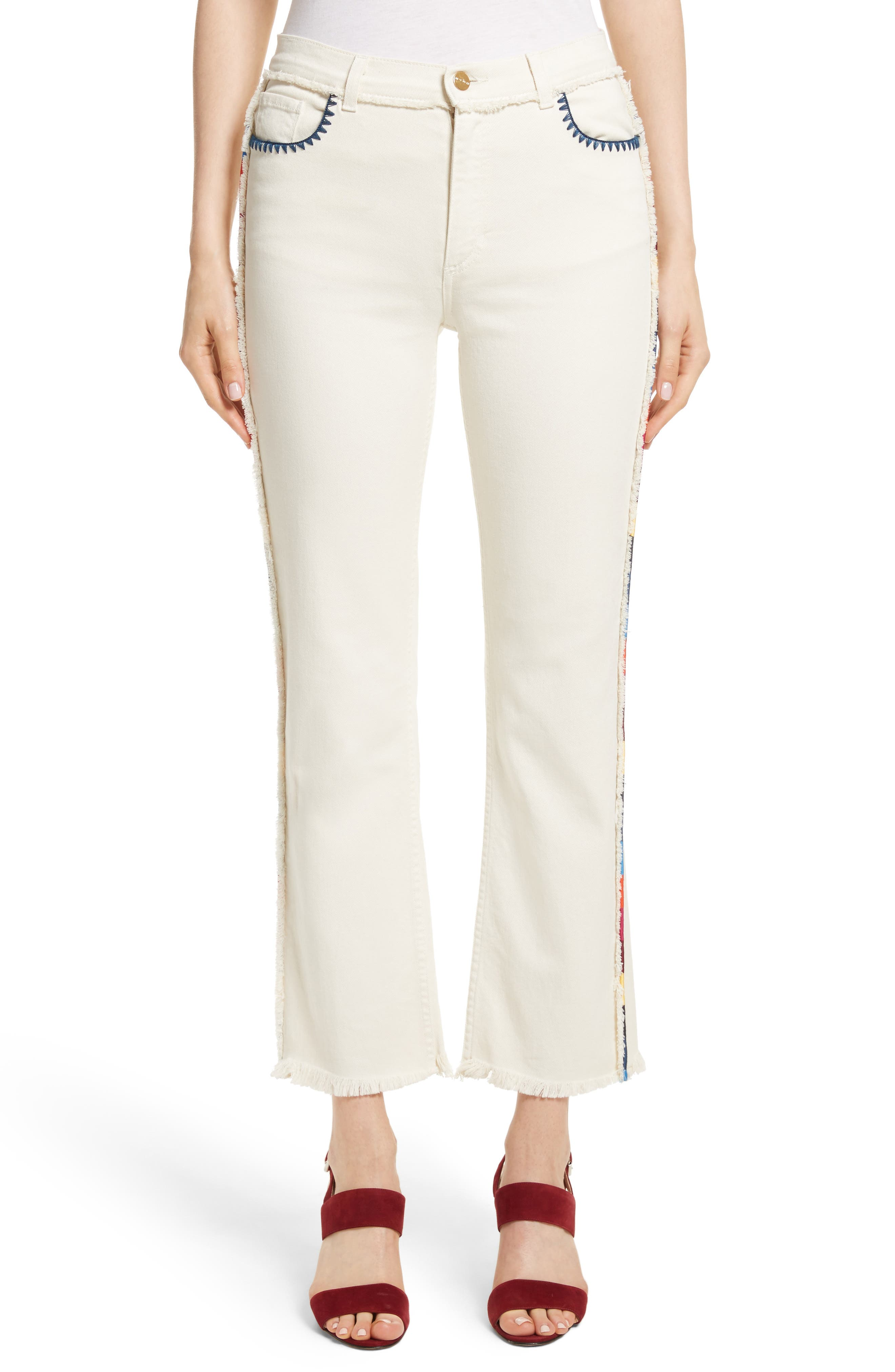 Embroidered Piping Crop Jeans,                             Main thumbnail 1, color,                             100