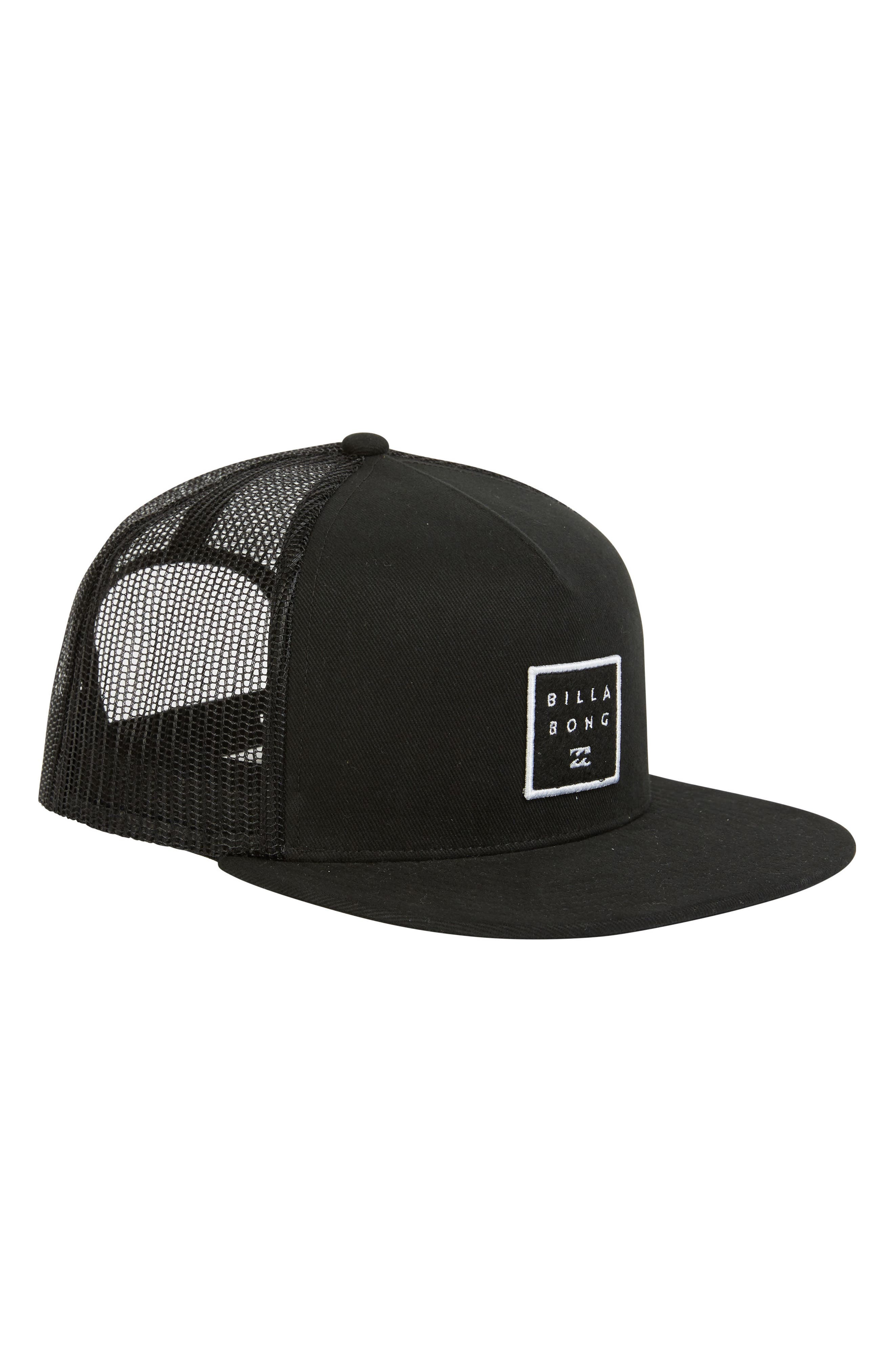 Stacked Trucker Hat,                         Main,                         color, BLACK