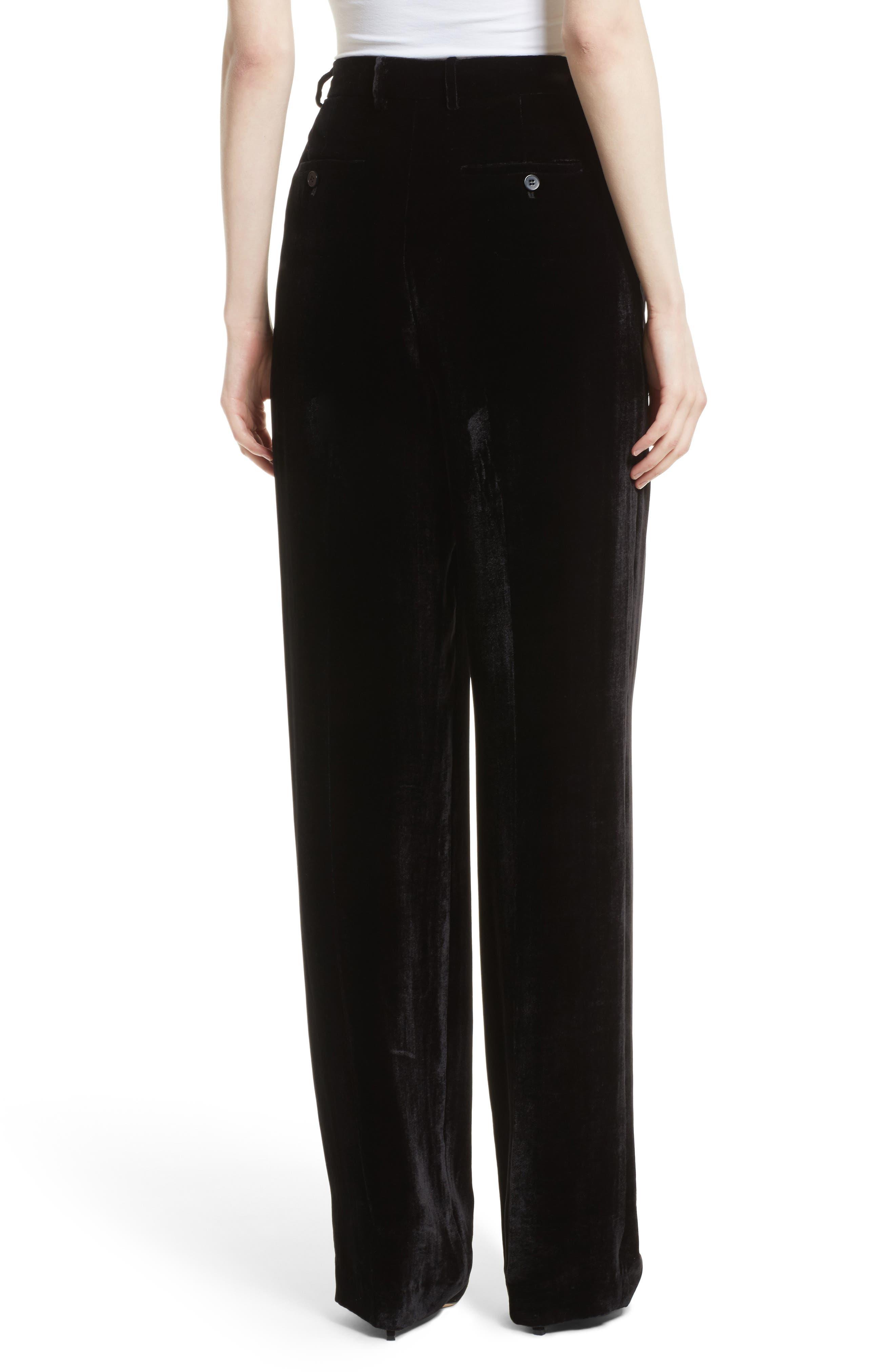 High Waist Luxe Velvet Pants,                             Alternate thumbnail 2, color,                             001