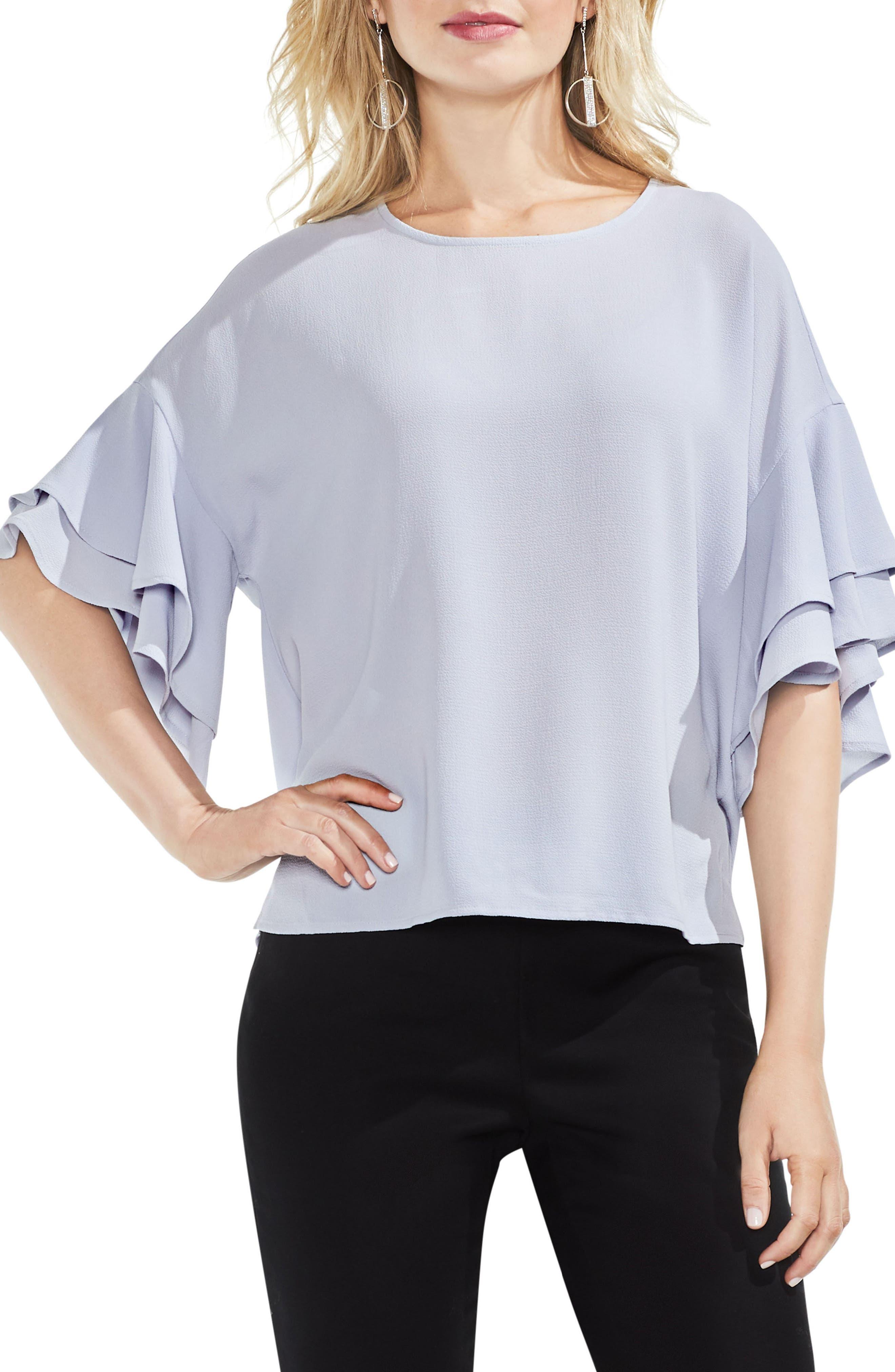 Drop Shoulder Ruffle Sleeve Blouse,                             Main thumbnail 4, color,