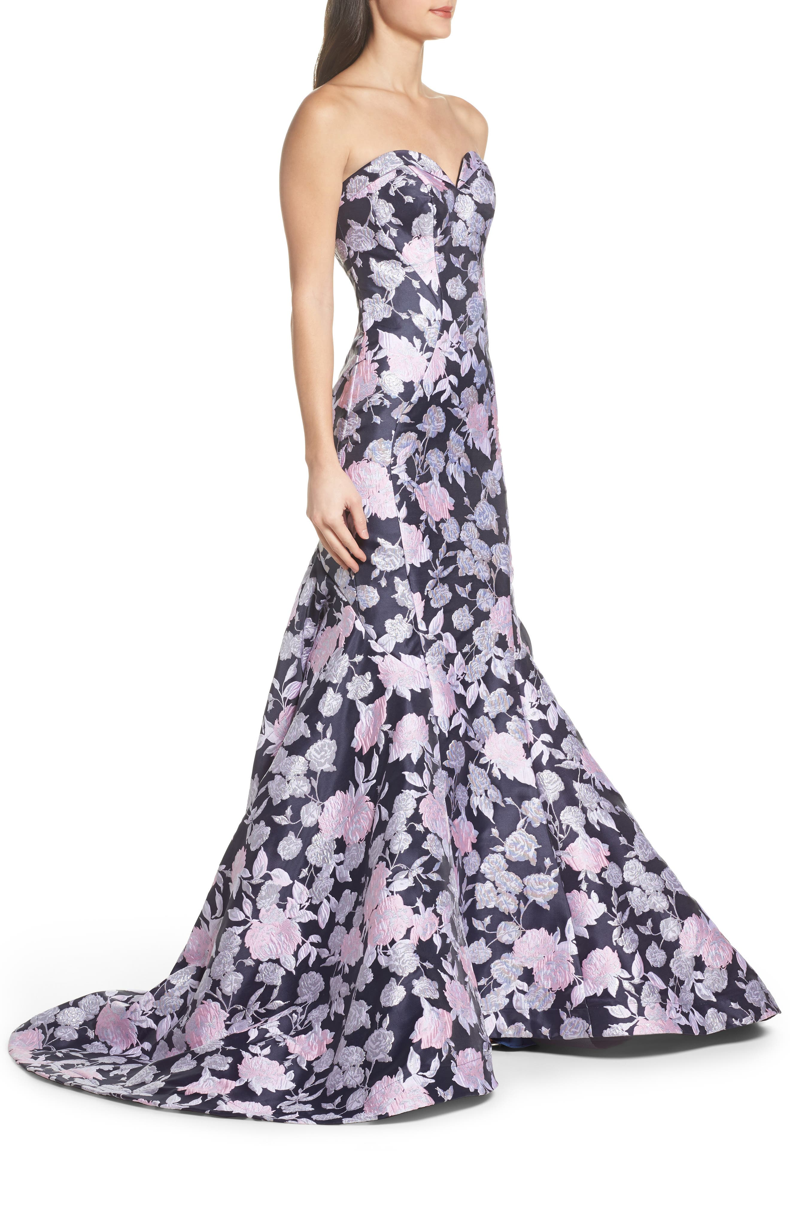 Floral Jacquard Strapless Mermaid Gown,                             Alternate thumbnail 3, color,                             416