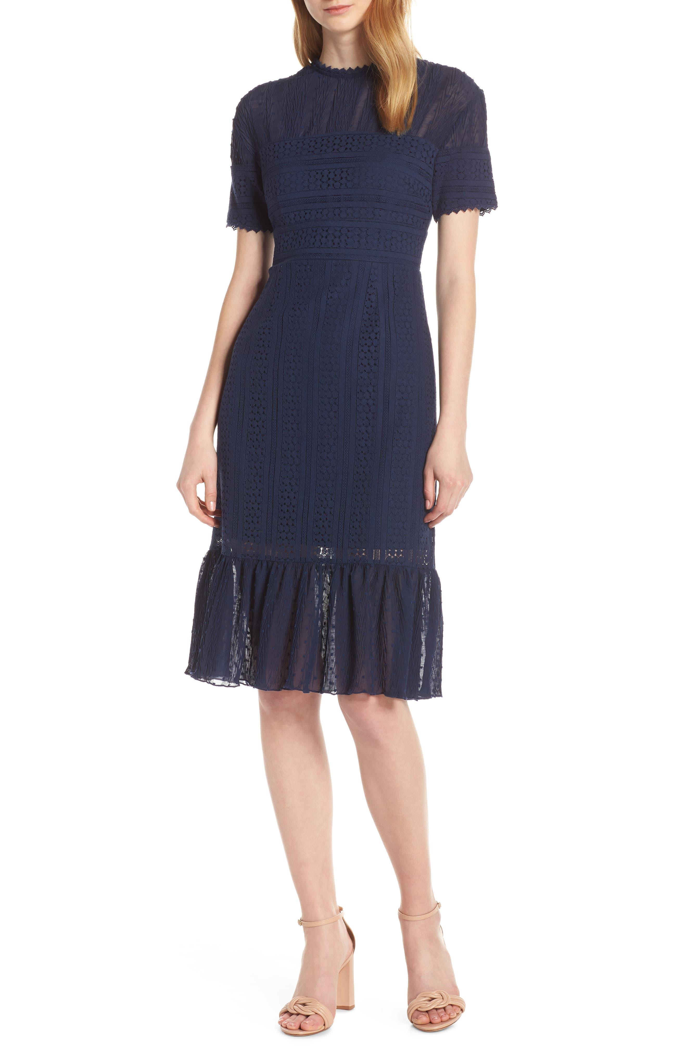Chelsea28 Lace & Swiss Dot Dress, Blue