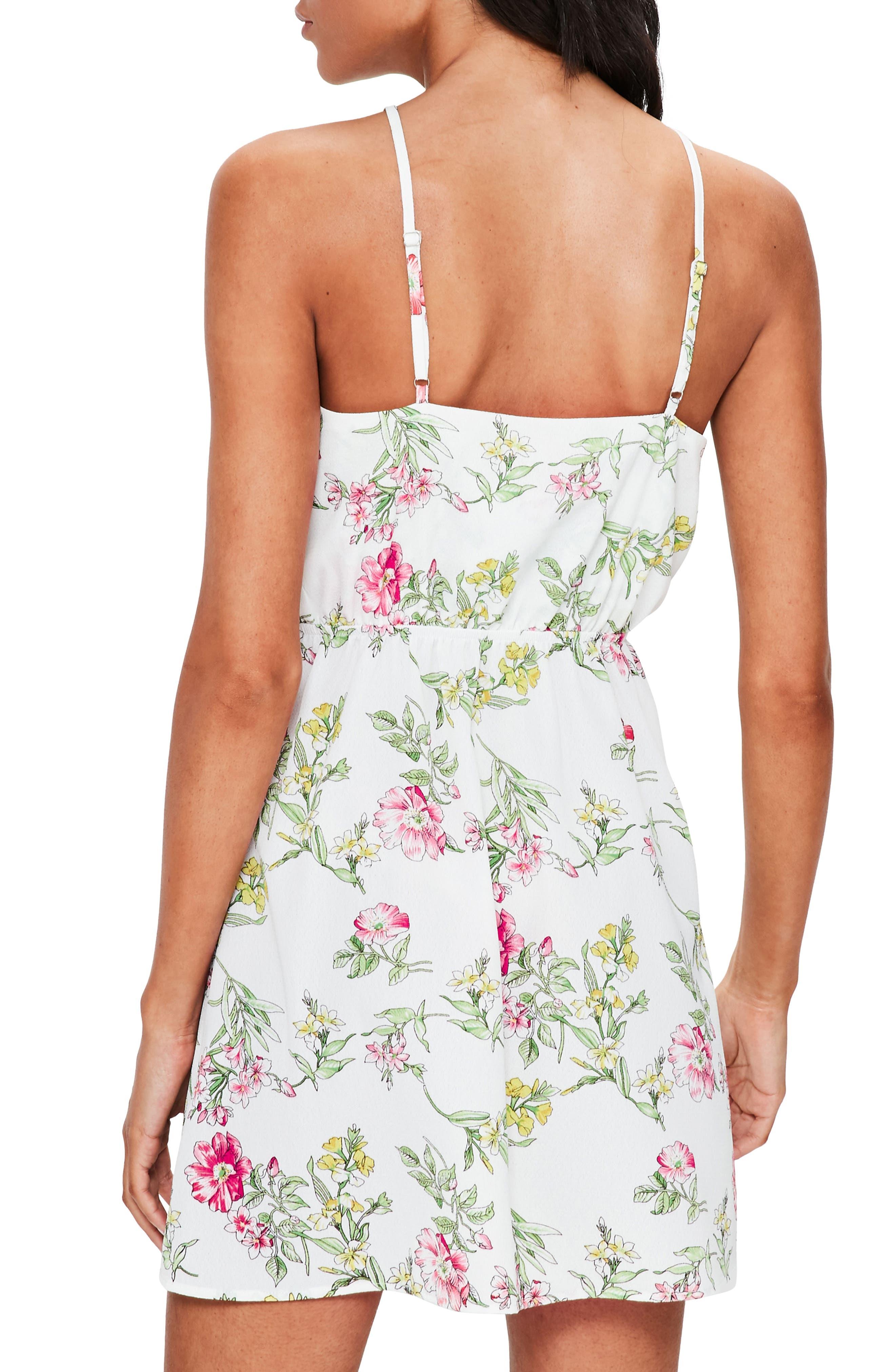 Floral Print Tie-Front A-Line Dress,                             Alternate thumbnail 2, color,                             100