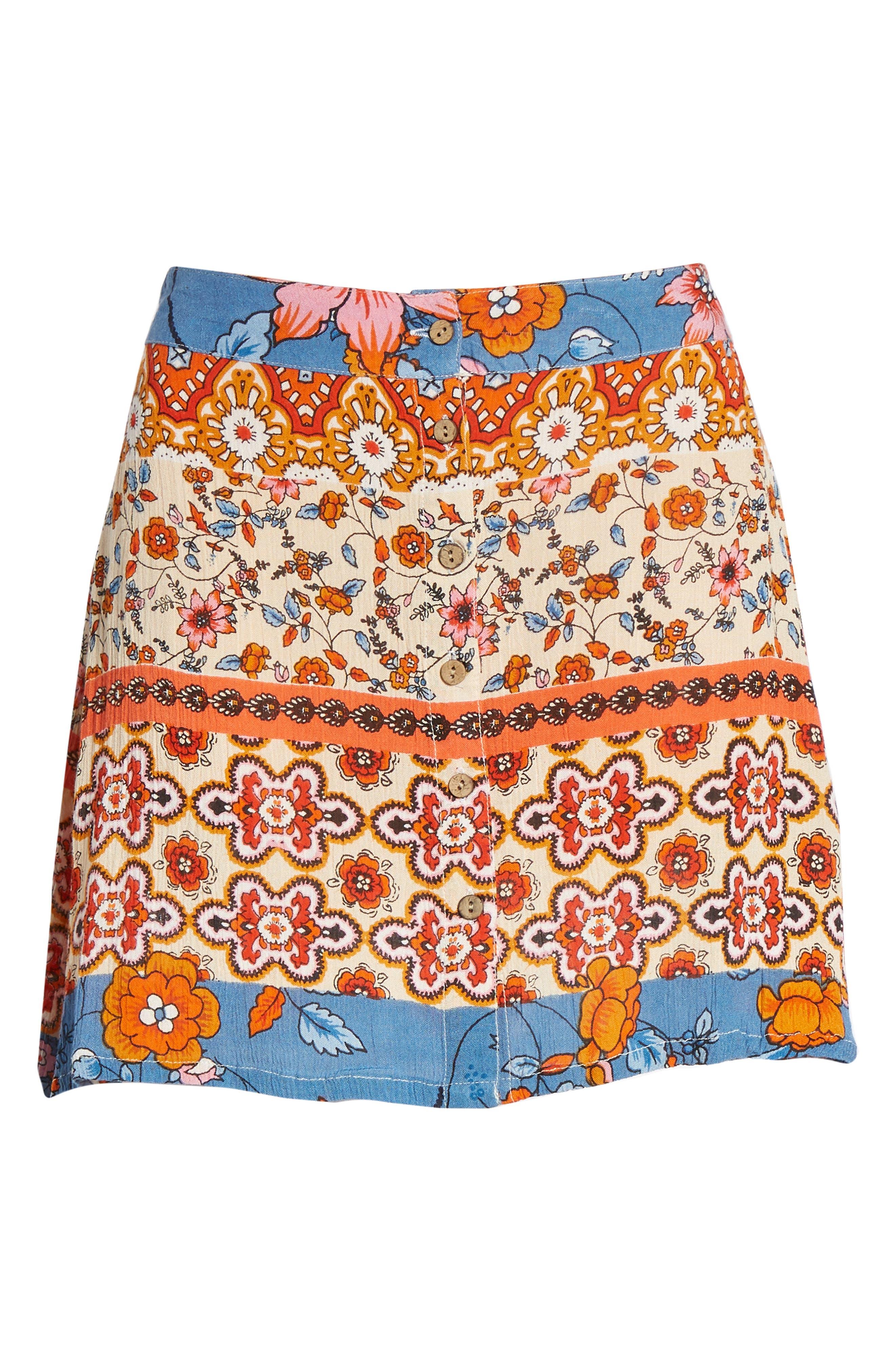 Sun Daze Mixed Print Skirt,                             Alternate thumbnail 6, color,