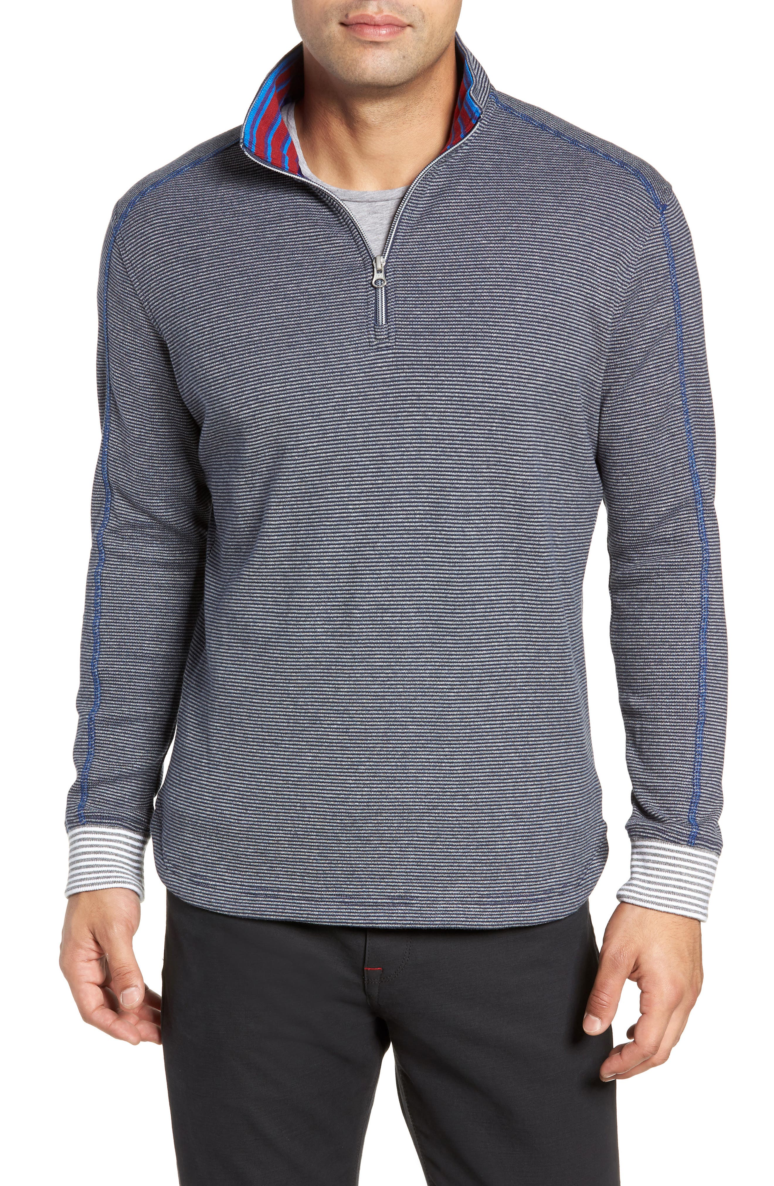 Kitson Classic Fit Stripe Quarter Zip Sweater,                             Main thumbnail 1, color,                             HEATHER NAVY