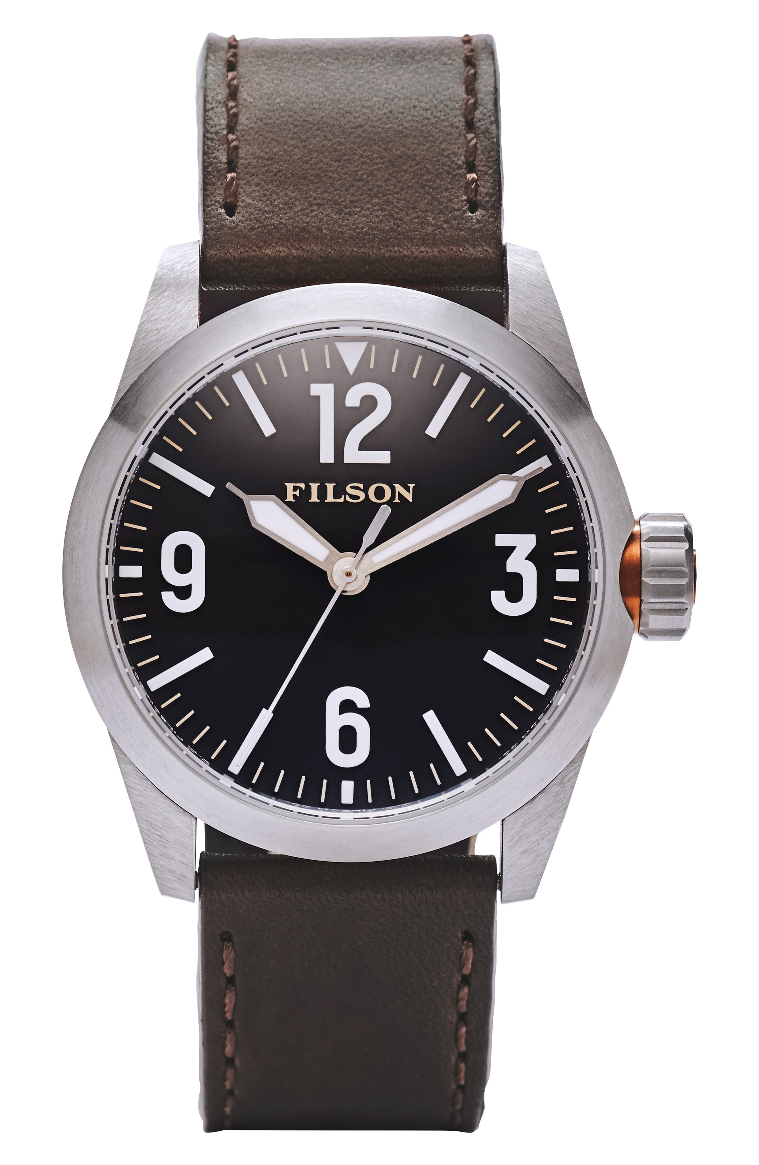 FILSON Field Leather Strap Watch, 42Mm in Brown Leather Strap