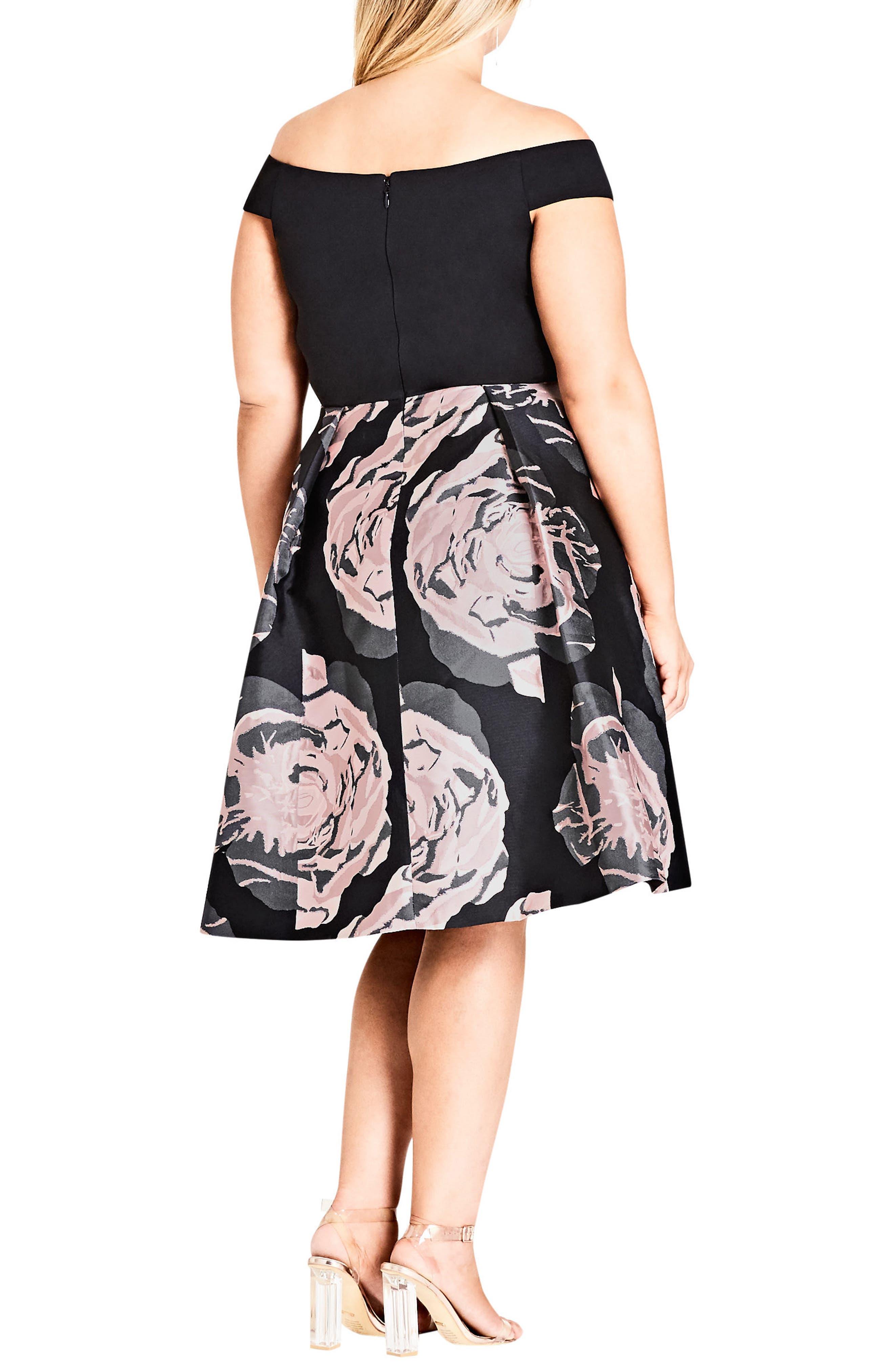 Flirt Jacqaurd Fit & Flare Dress,                             Alternate thumbnail 2, color,