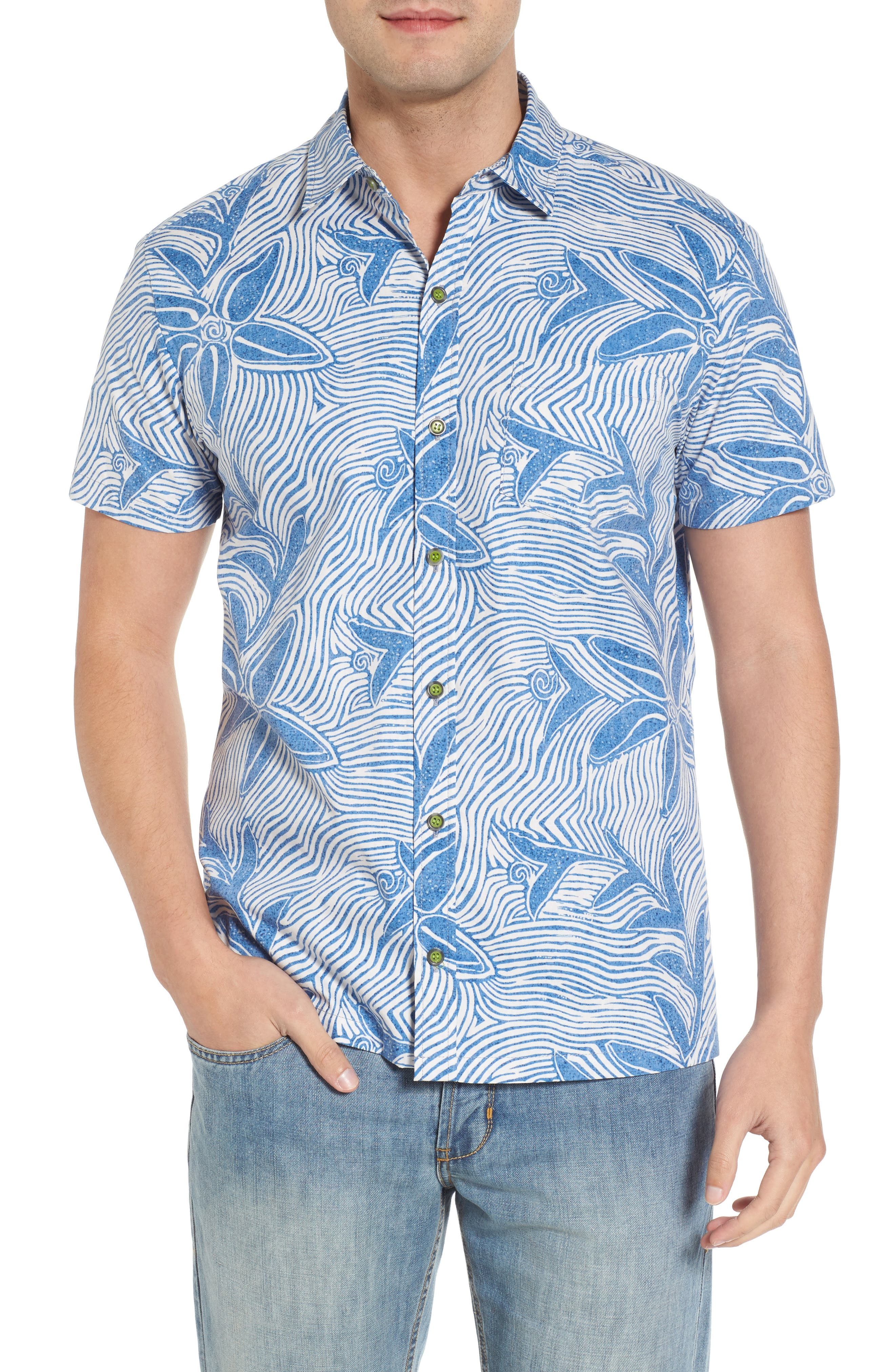 Coral Star Trim Fit Print Sport Shirt,                             Main thumbnail 1, color,                             409