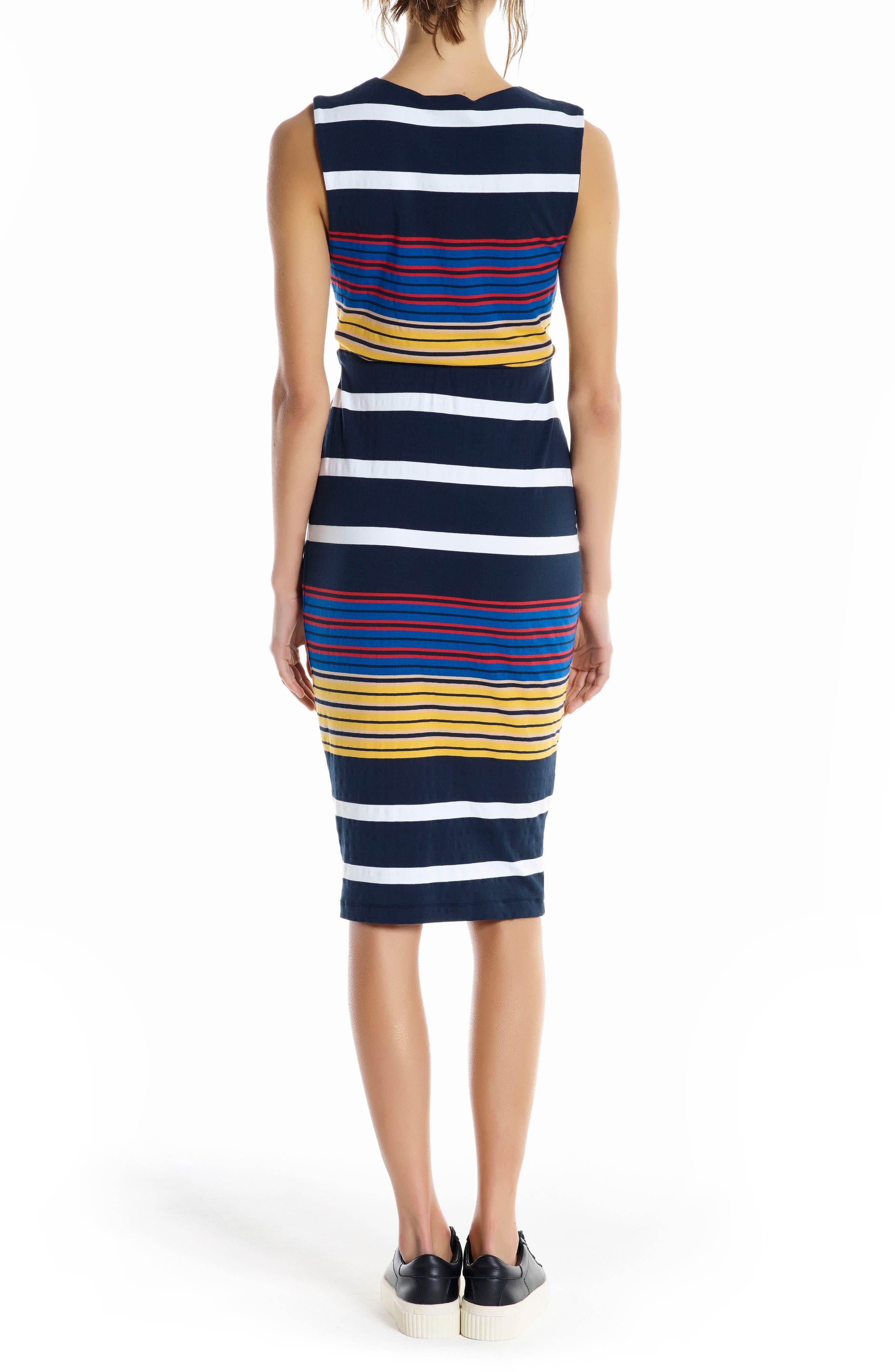 KENDELL + KYLIE Stripe Midi Dress,                             Alternate thumbnail 2, color,                             001