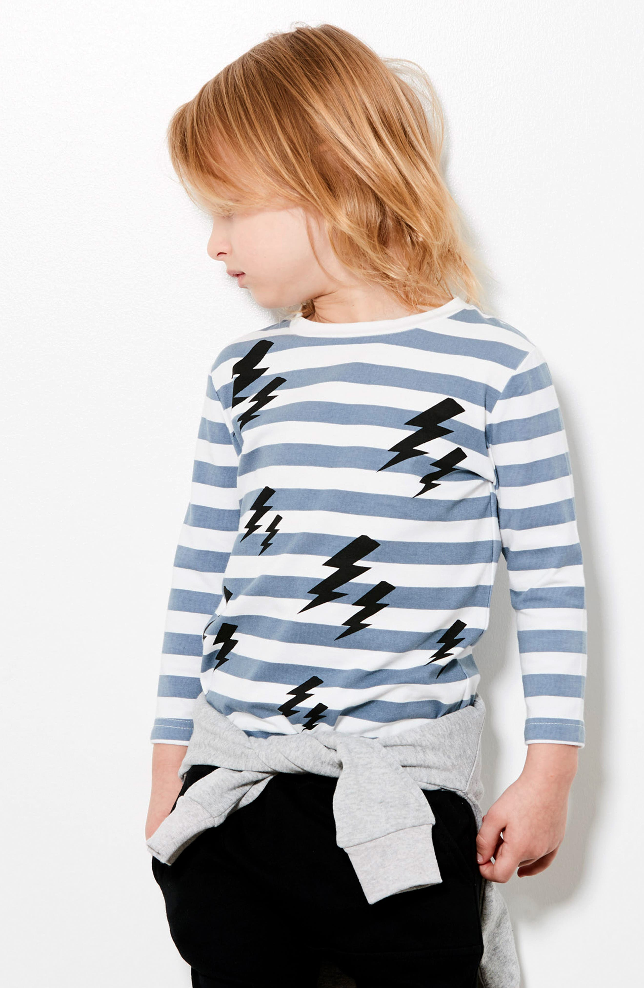 Lightning Stripe T-Shirt,                             Alternate thumbnail 3, color,                             BLUE/ BLACK