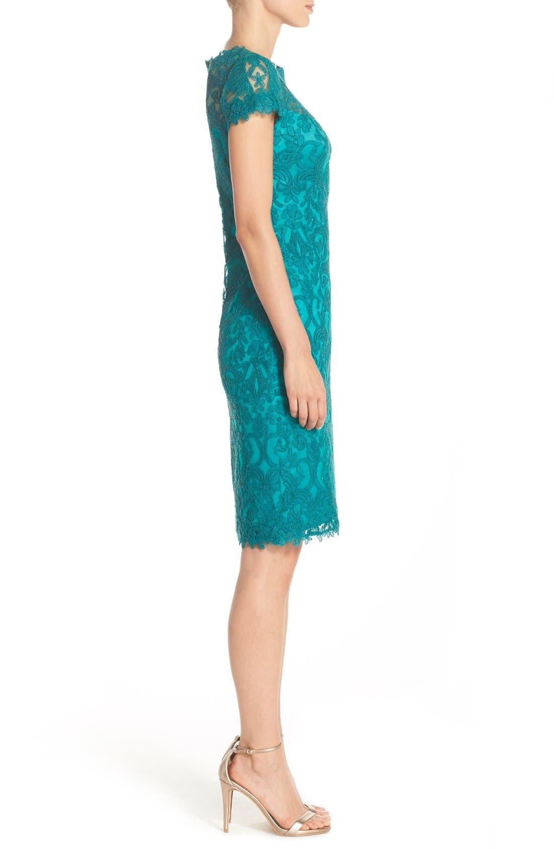 Illusion Yoke Lace Sheath Dress,                             Alternate thumbnail 56, color,