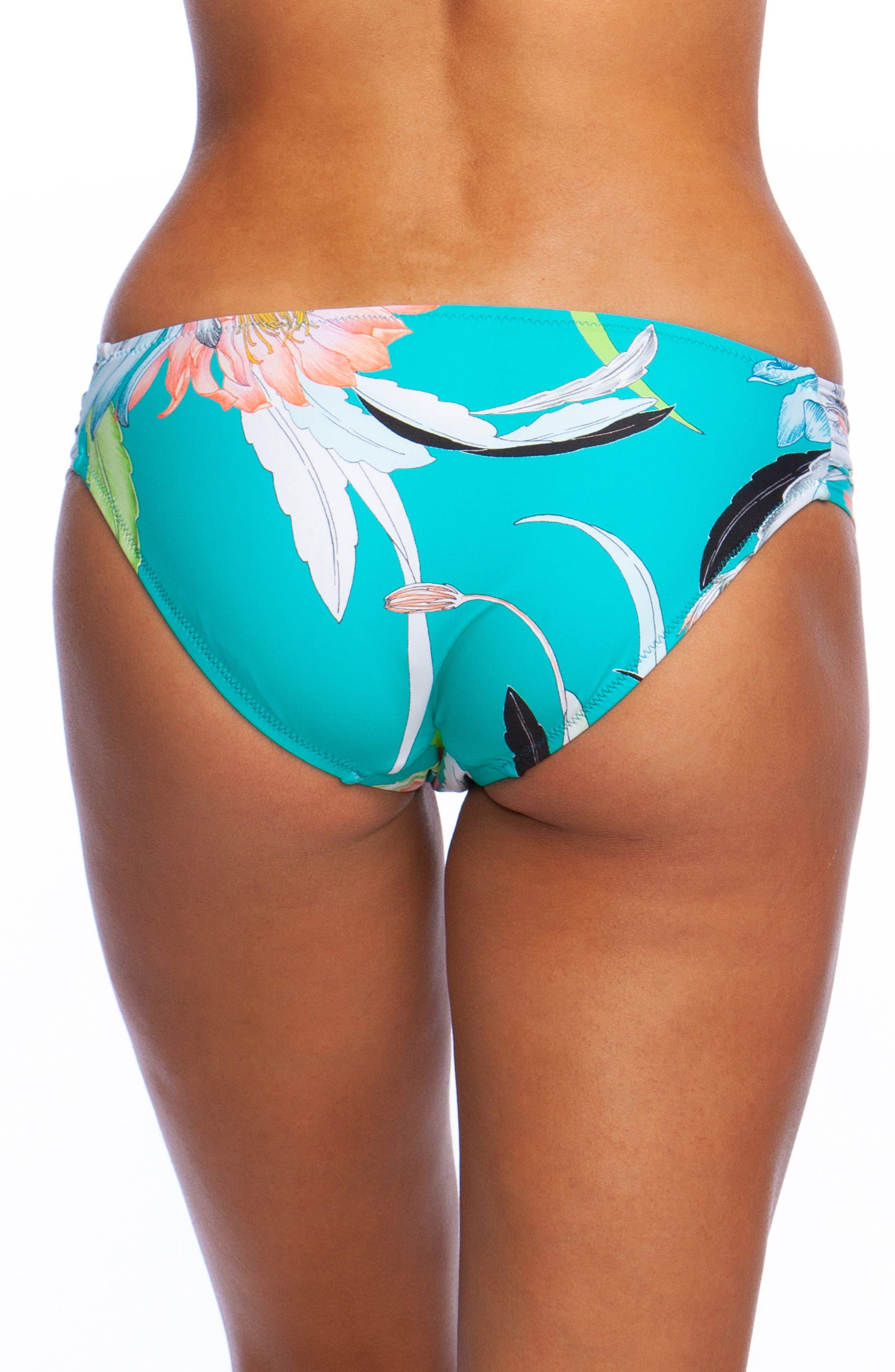 Shirred Side Hipster Bikini Bottoms,                             Alternate thumbnail 2, color,                             JADE