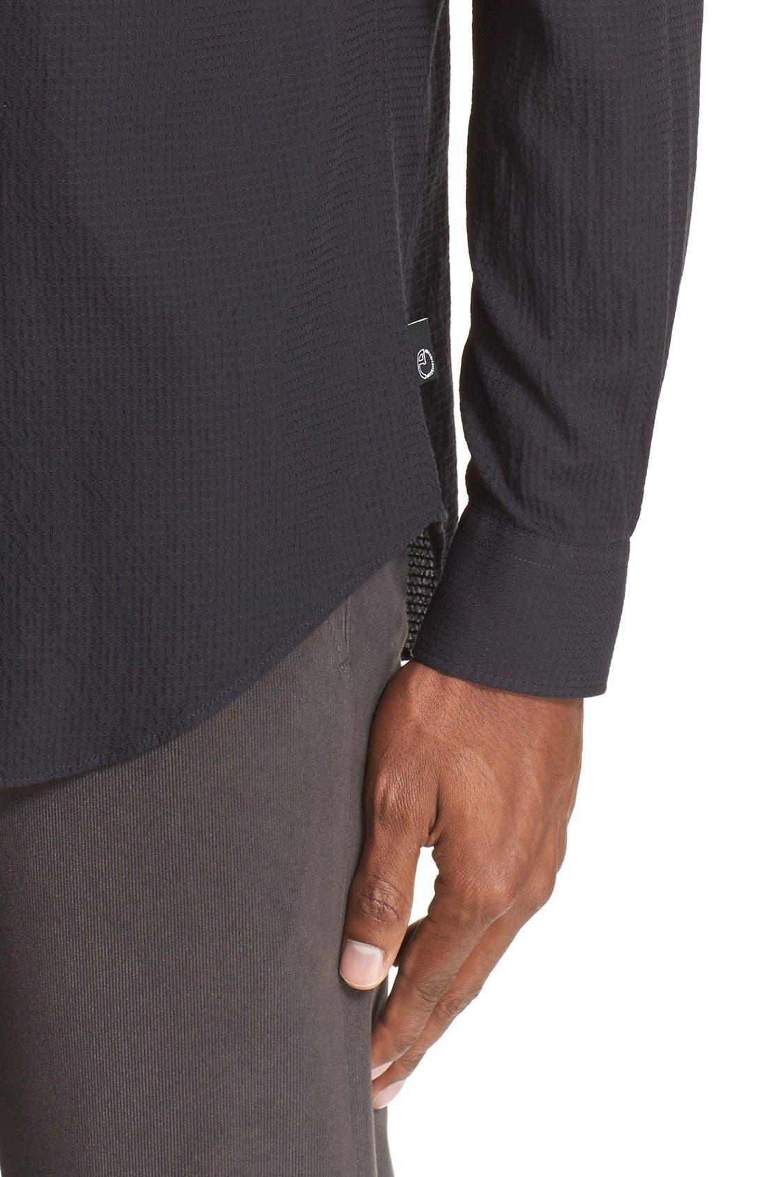 Trim Fit Textured Sport Shirt,                             Alternate thumbnail 5, color,                             004