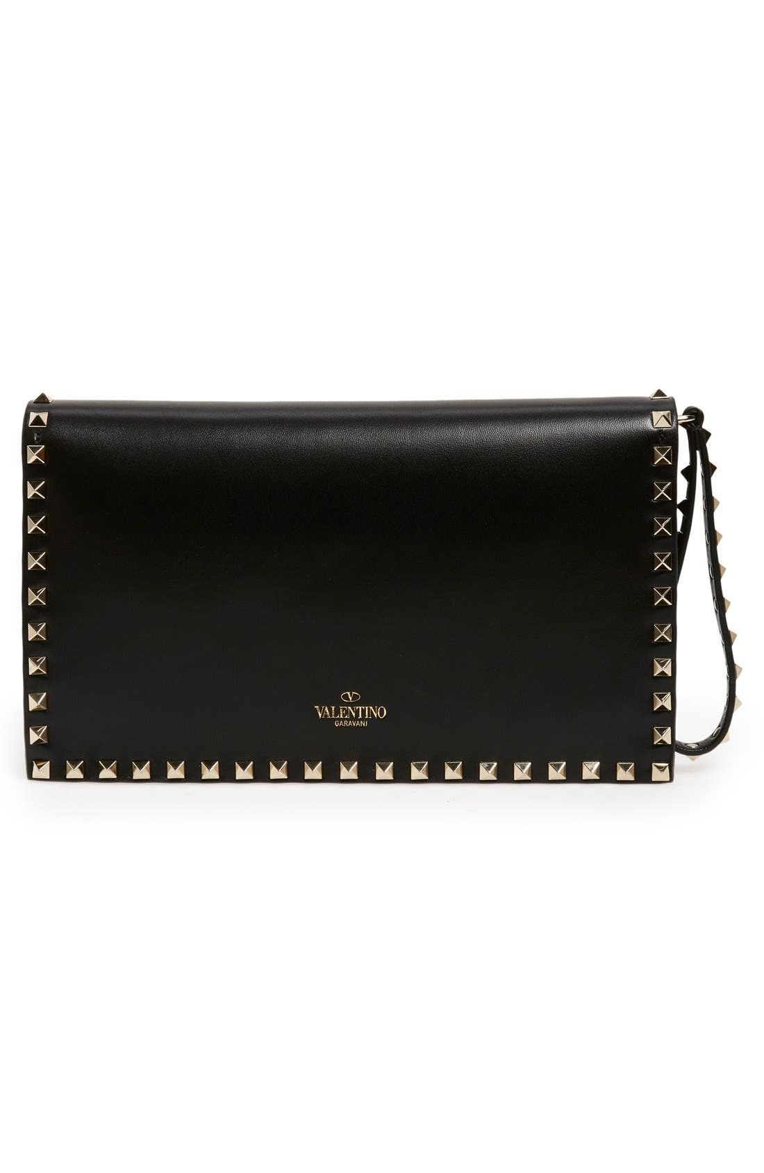 Rockstud Leather Flap Clutch,                             Alternate thumbnail 3, color,                             BLACK
