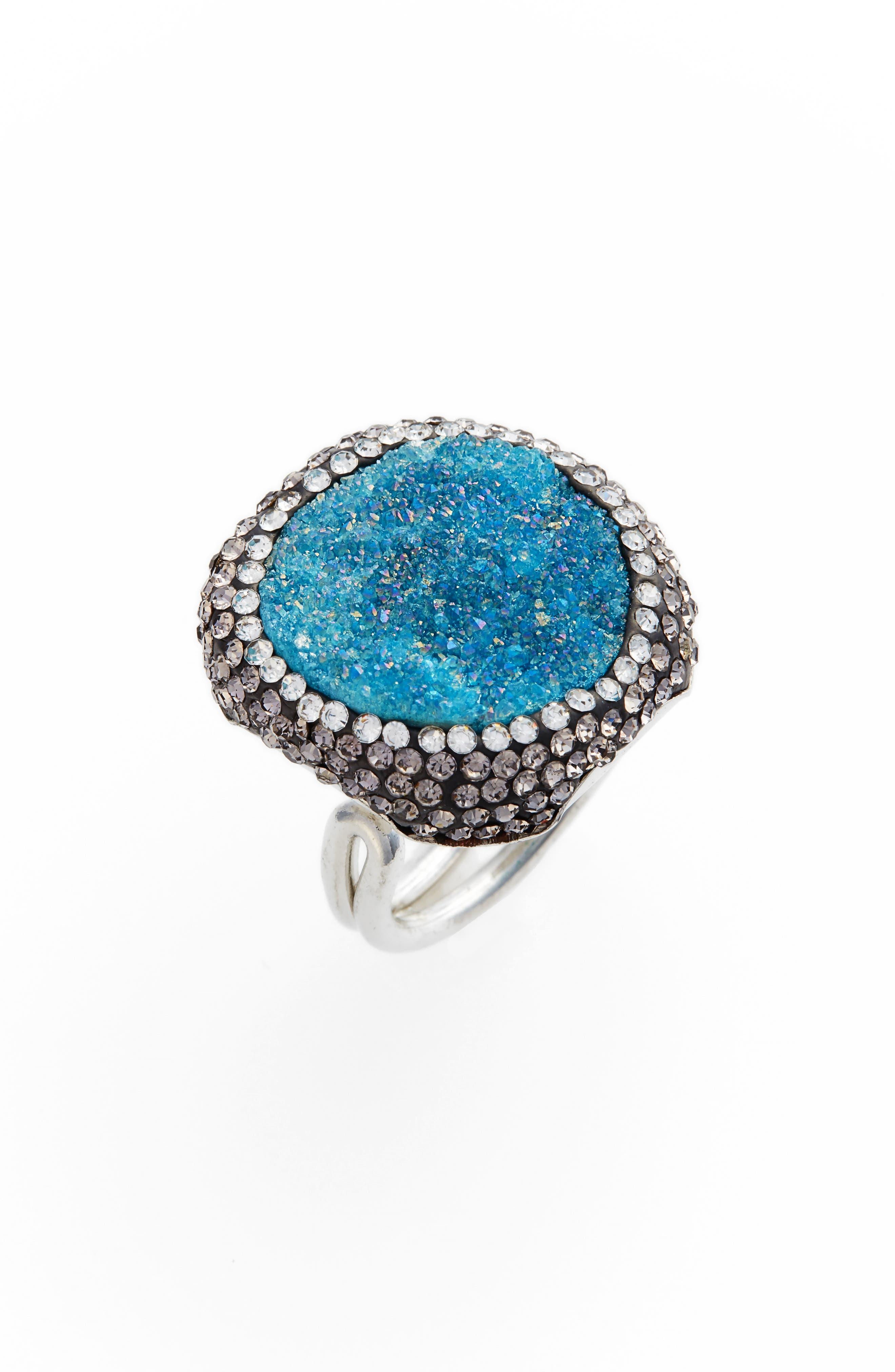 Goddess Drusy & Crystal Ring,                             Main thumbnail 2, color,