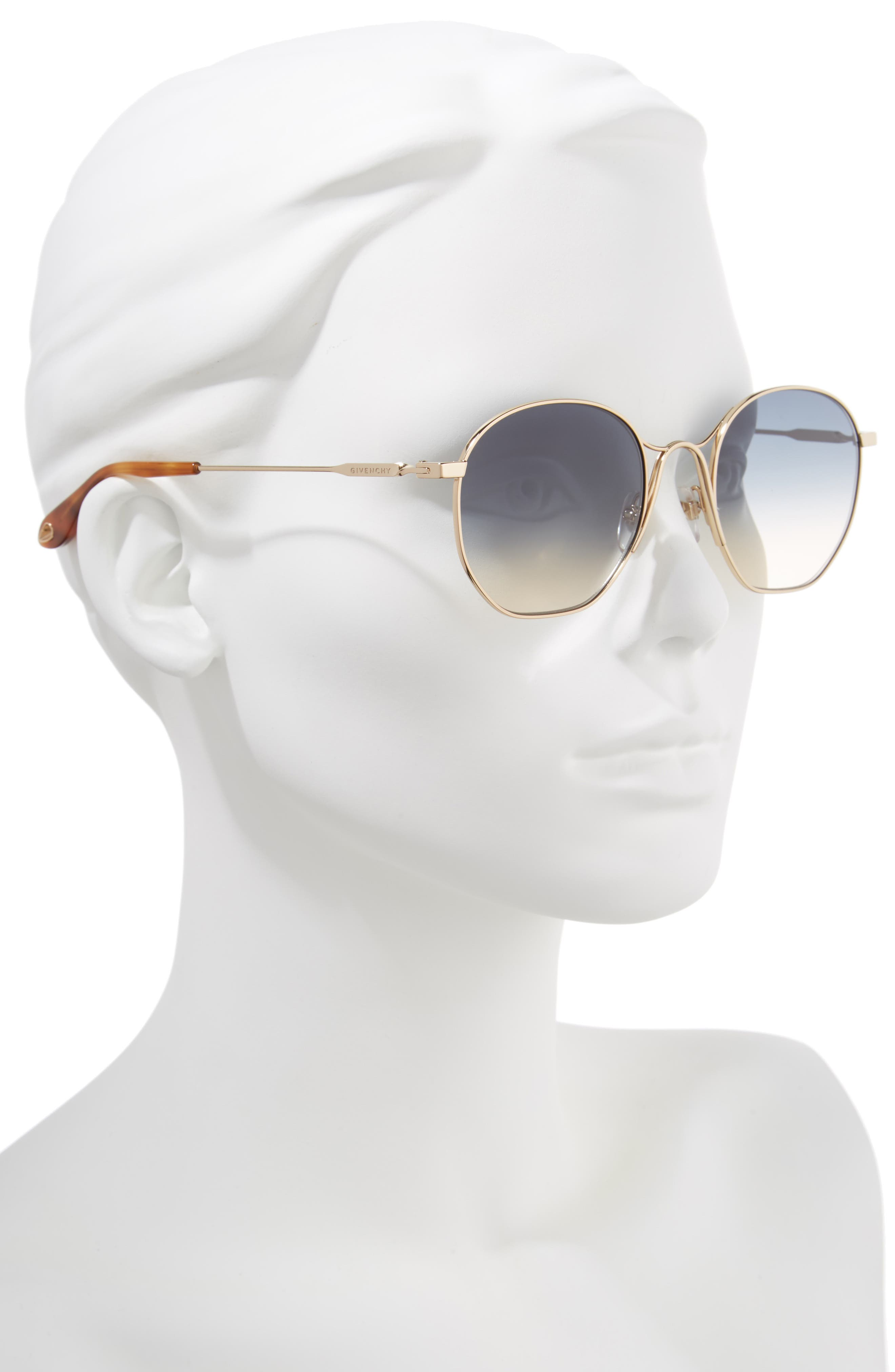 53mm Squared Round Metal Sunglasses,                             Alternate thumbnail 2, color,                             GOLD