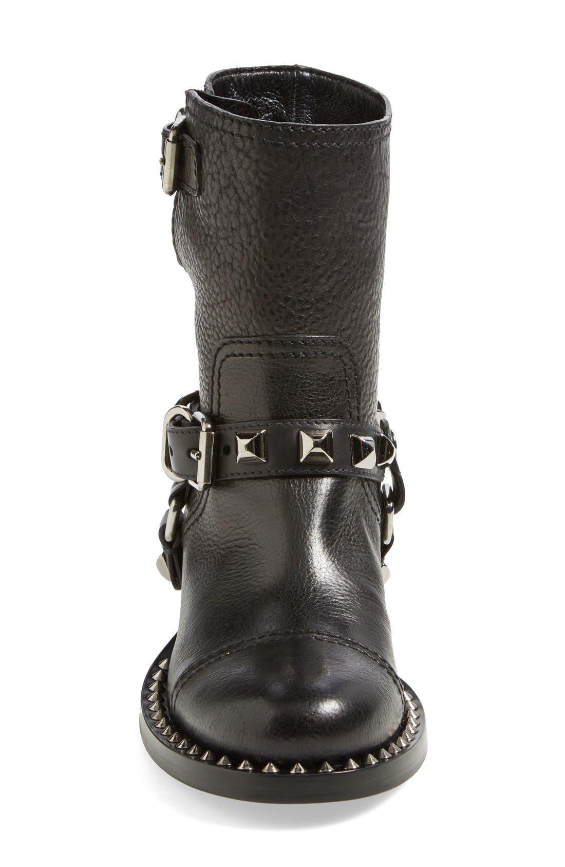 Studded Harness Moto Boot,                             Alternate thumbnail 4, color,                             001