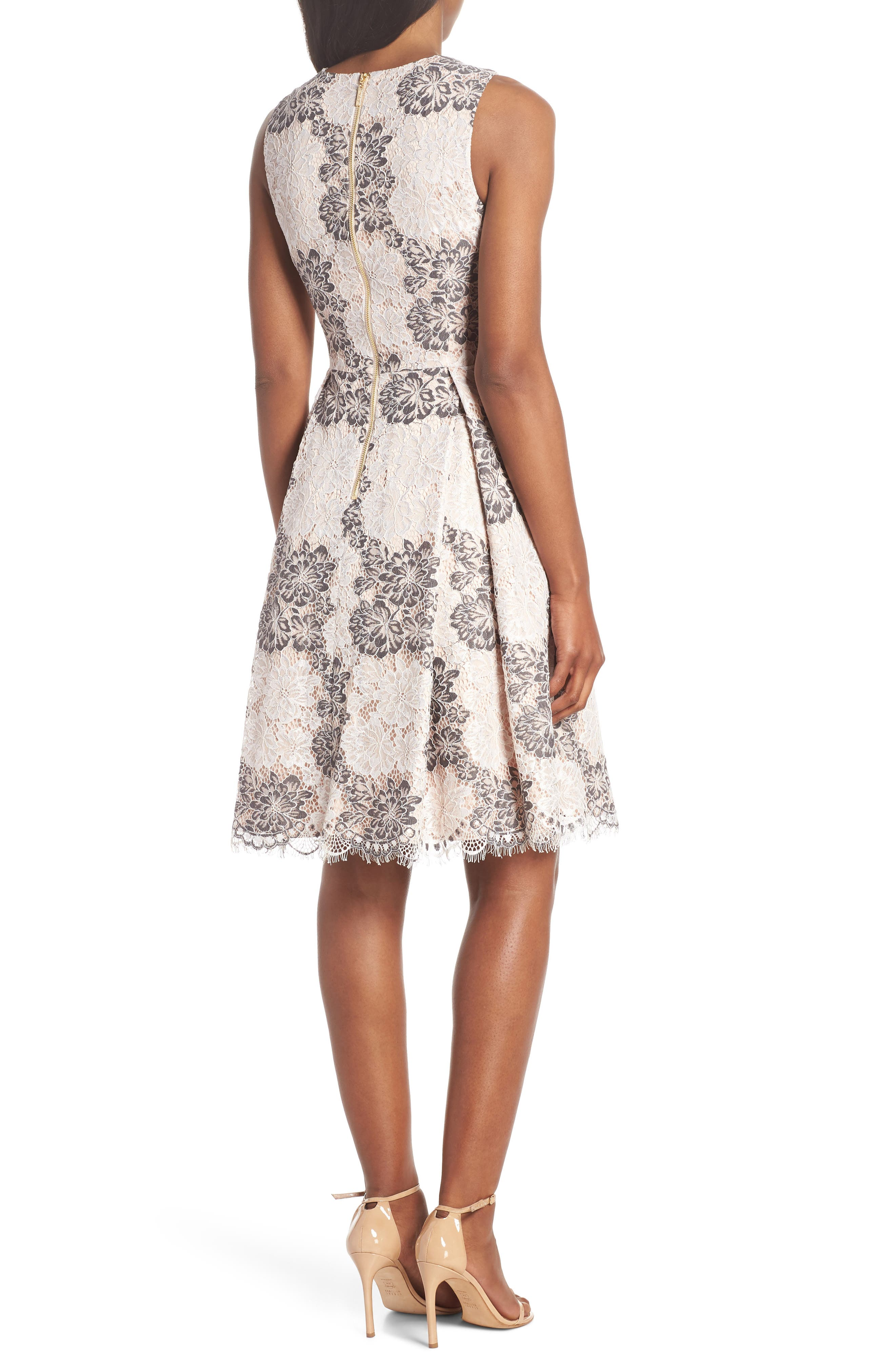 ELIZA J,                             Sleeveless Lace Fit & Flare Dress,                             Alternate thumbnail 2, color,                             TAUPE MULT