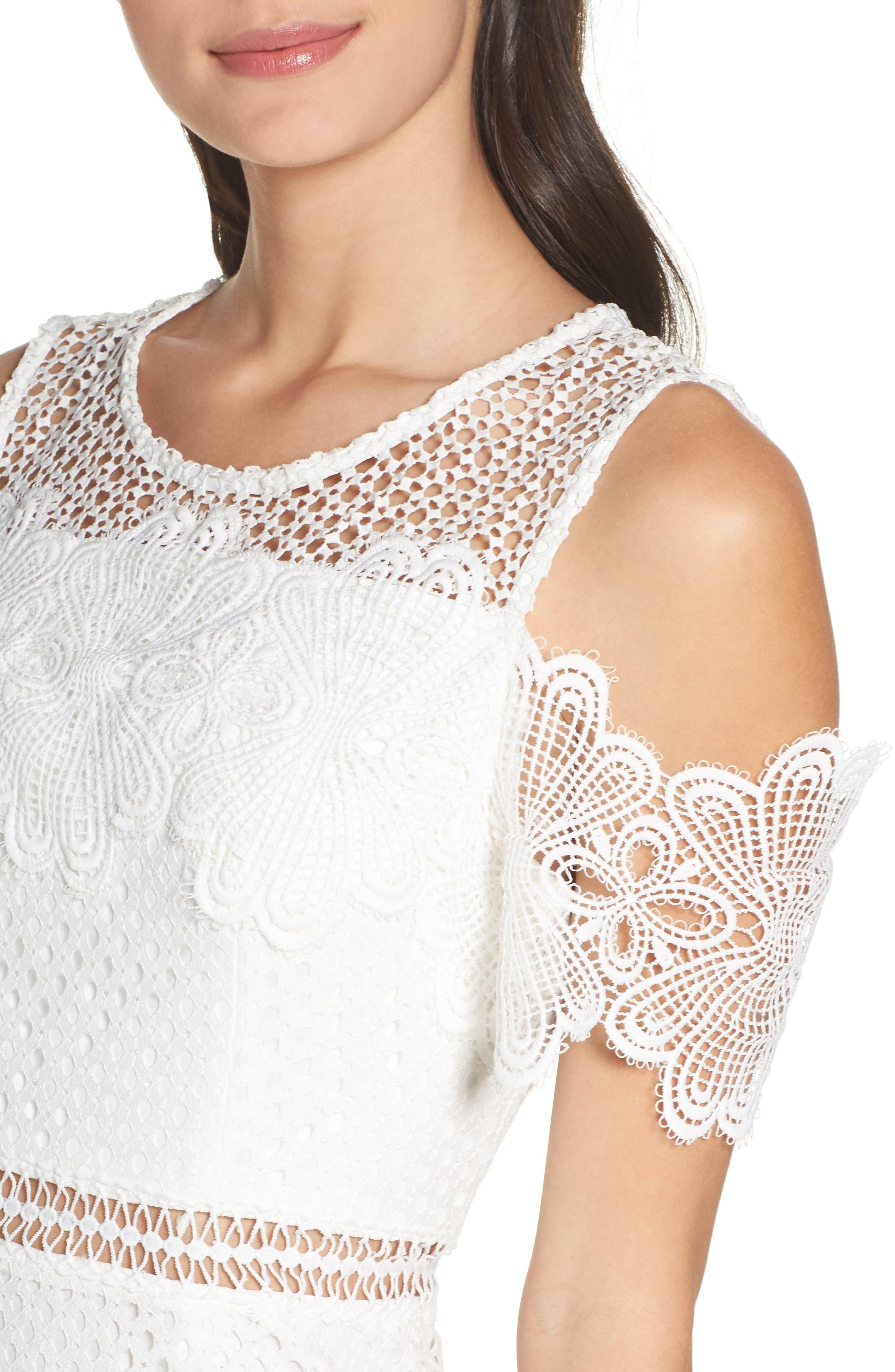 Cold Shoulder Lace Dress,                             Alternate thumbnail 4, color,                             100