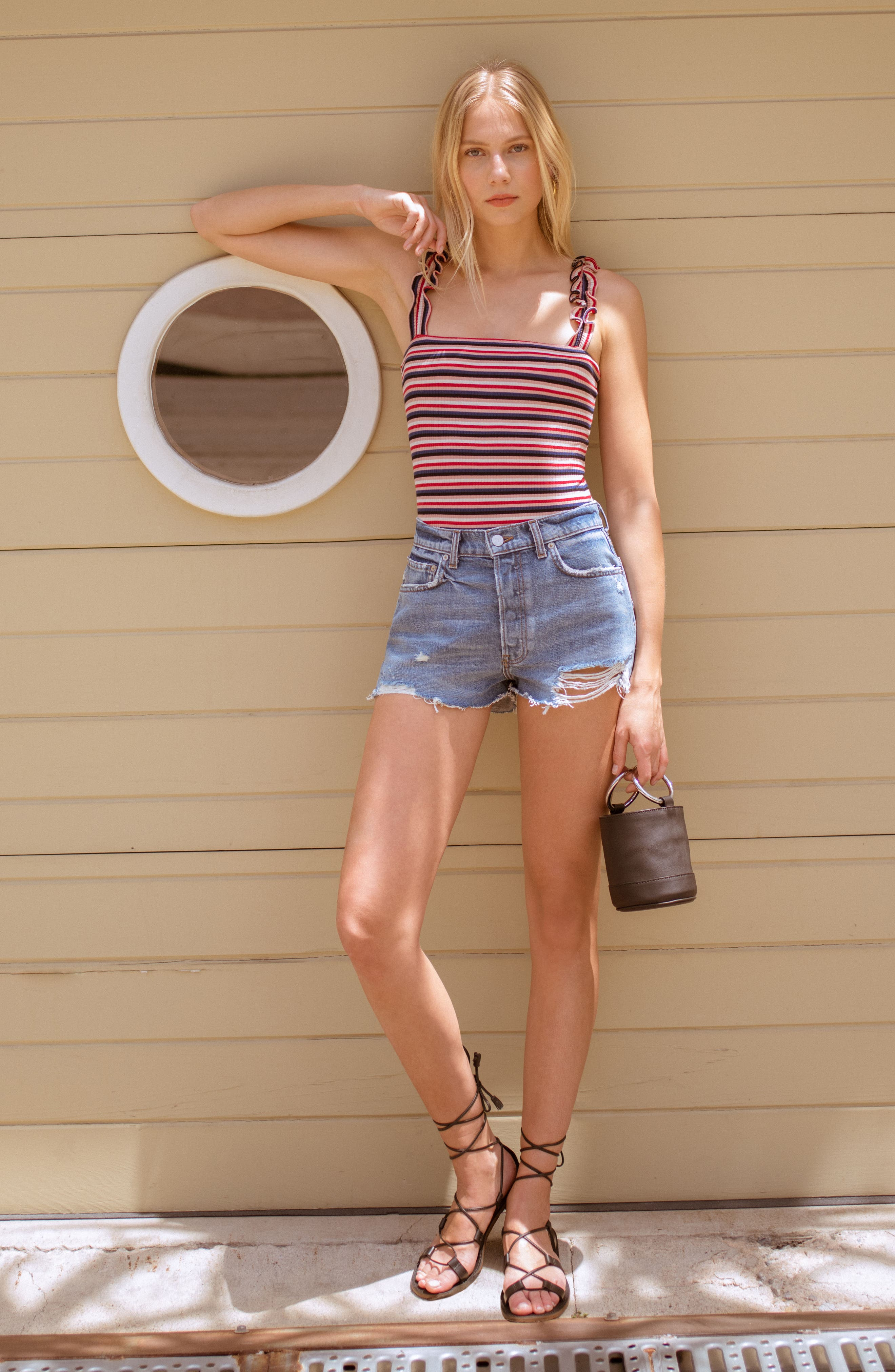 Dixie High Waist Cutoff Denim Shorts,                             Alternate thumbnail 6, color,                             BALI