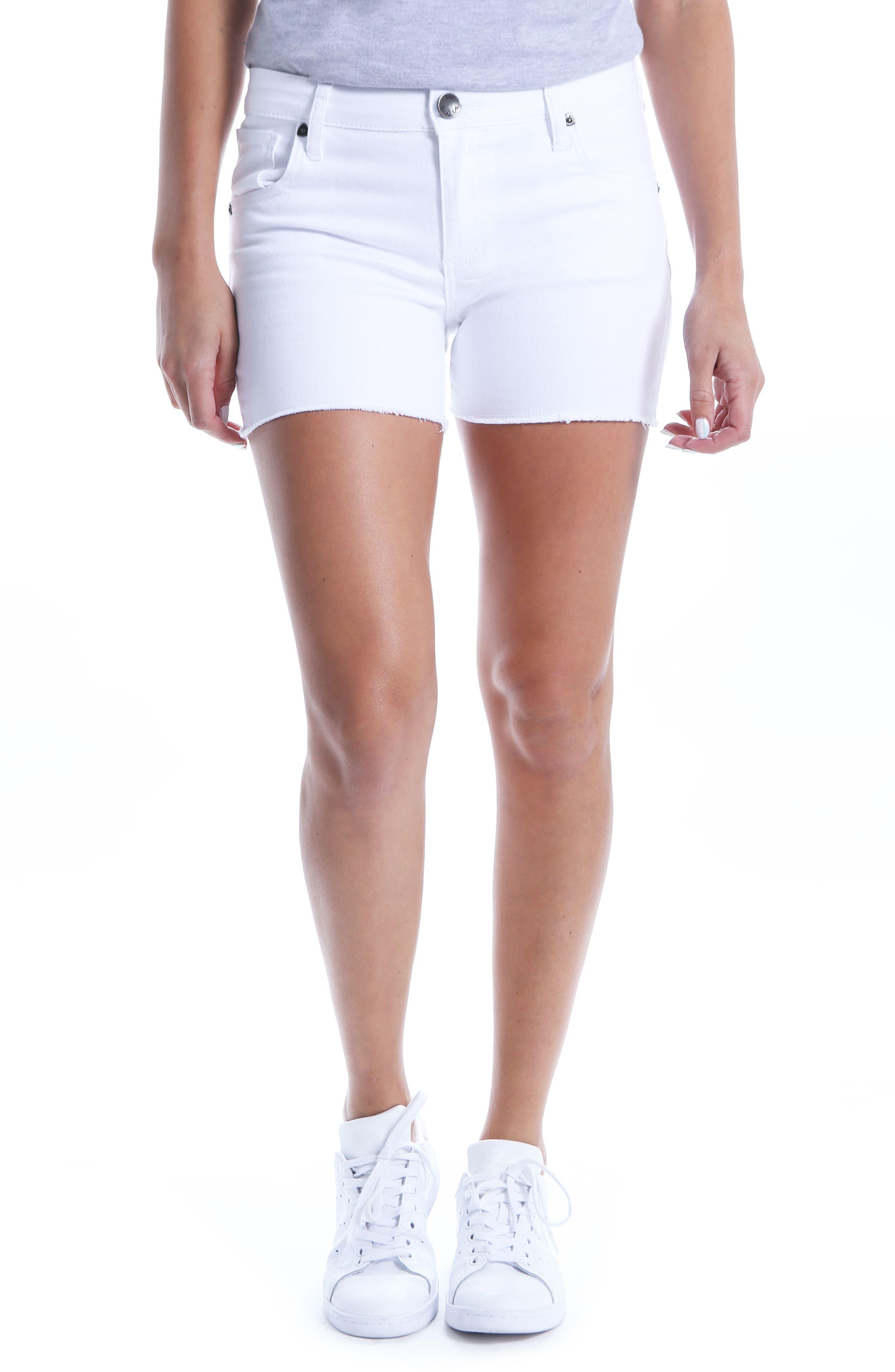 Gidget Raw Hem Shorts,                             Main thumbnail 1, color,                             OPTIC WHITE