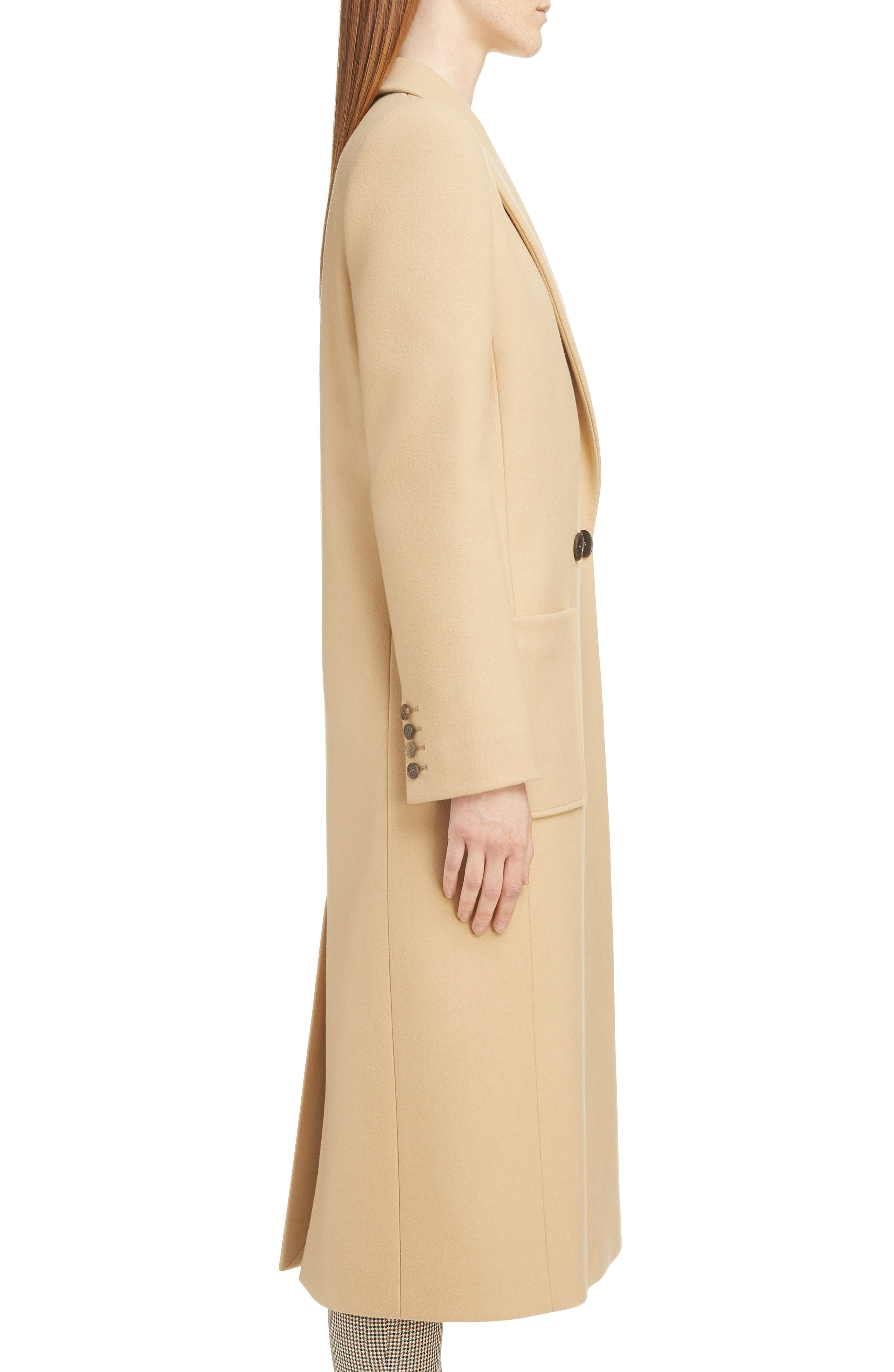 GIVENCHY,                             Double Breasted Wool Coat,                             Alternate thumbnail 3, color,                             250-BEIGE