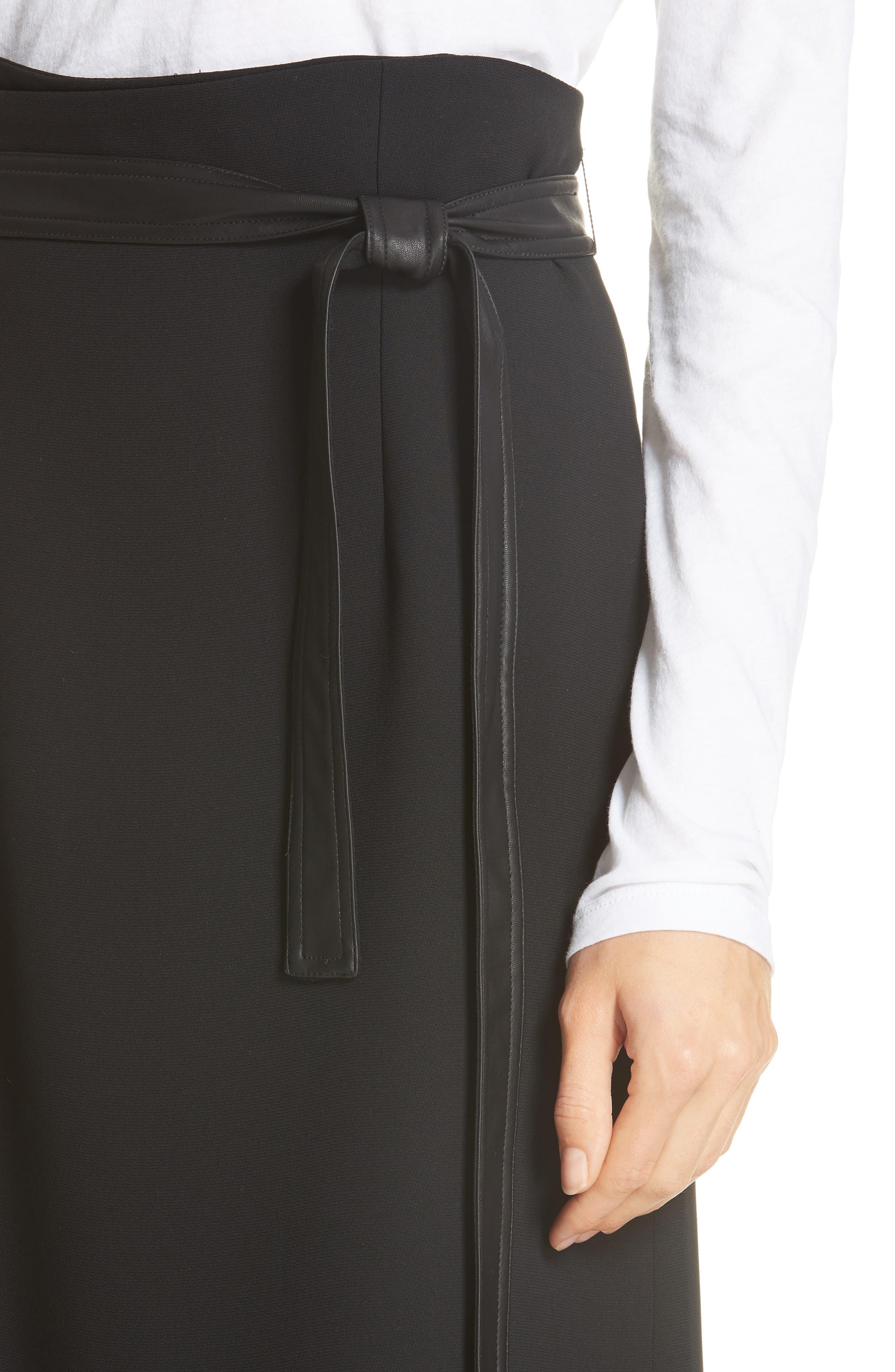 Belted Wrap Skirt,                             Alternate thumbnail 4, color,                             BLACK
