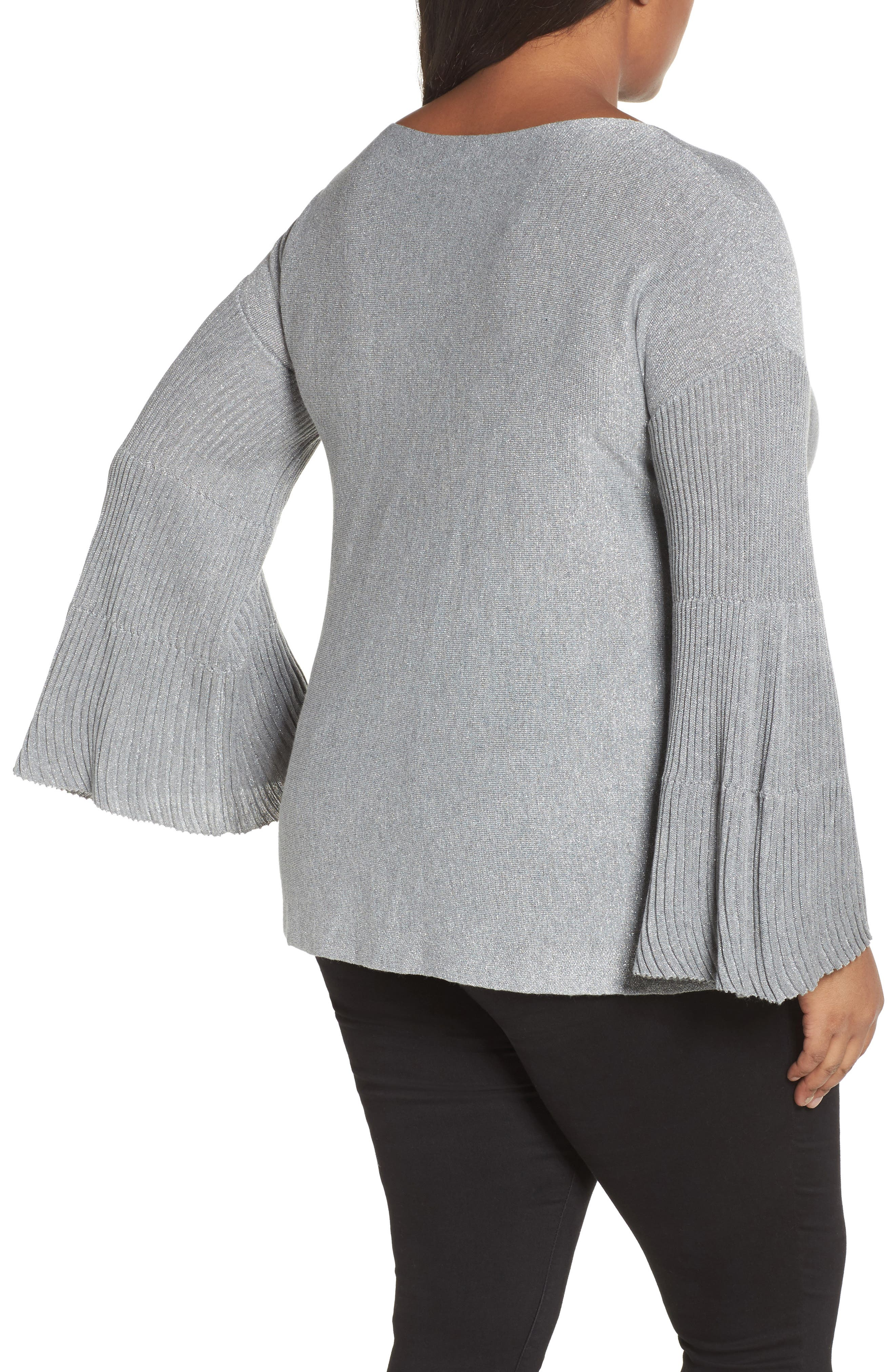 Sparkly Bell Sleeve Sweater,                             Alternate thumbnail 2, color,                             028